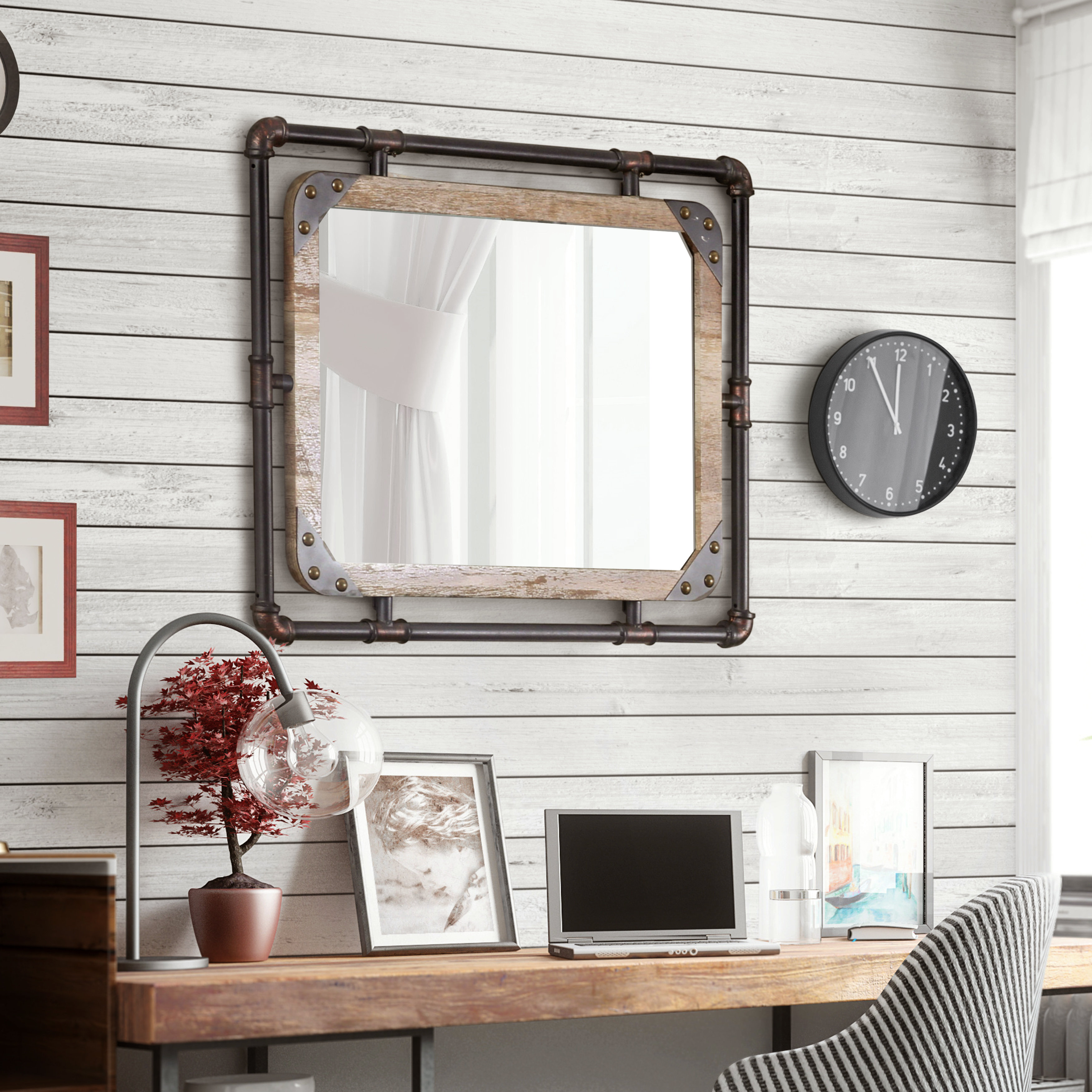Capri Bathroom Mirror Pertaining To Peetz Modern Rustic Accent Mirrors (Image 6 of 30)