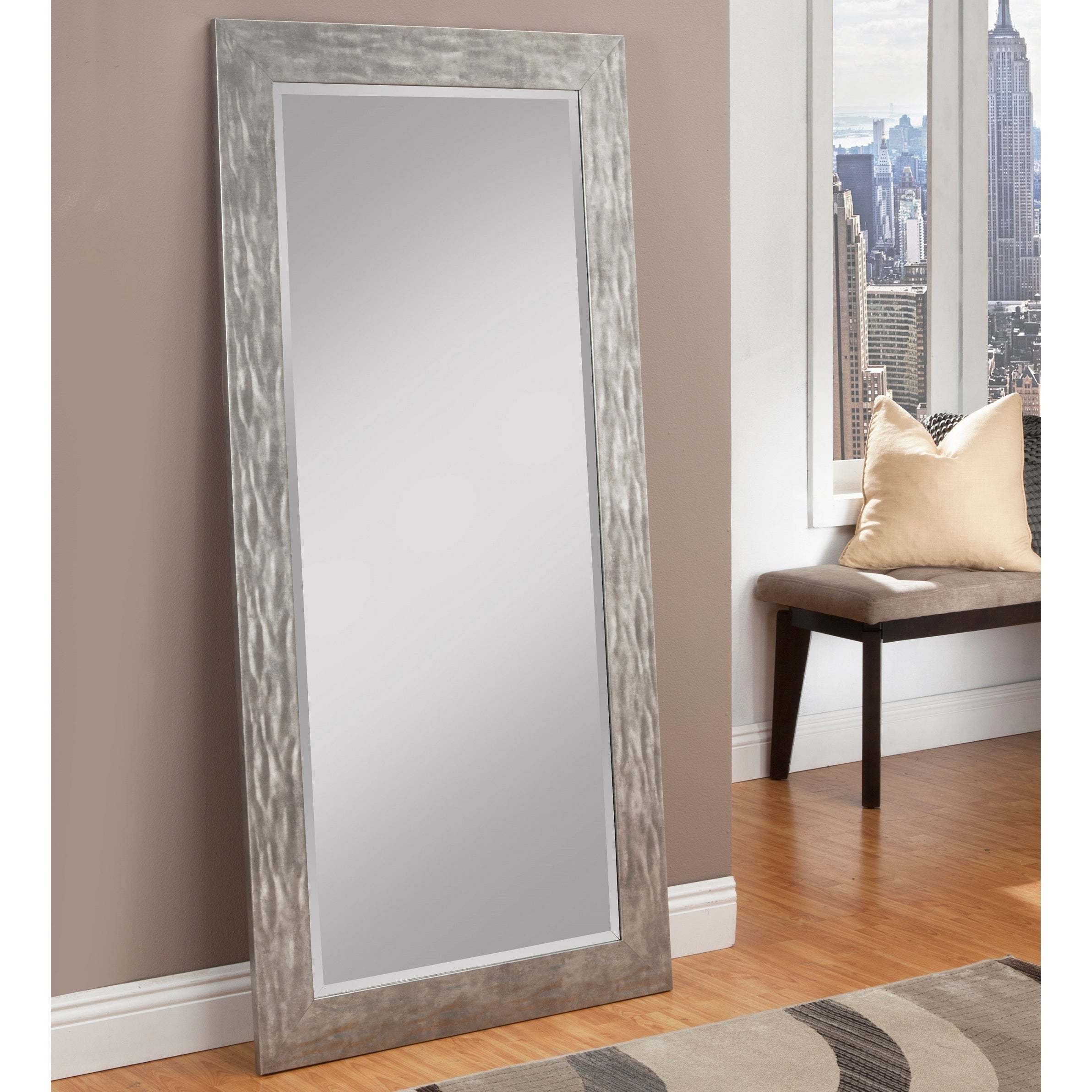 Carbon Loft Hammered Metal Finish Full Length Leaner Mirror Inside Handcrafted Farmhouse Full Length Mirrors (View 6 of 30)