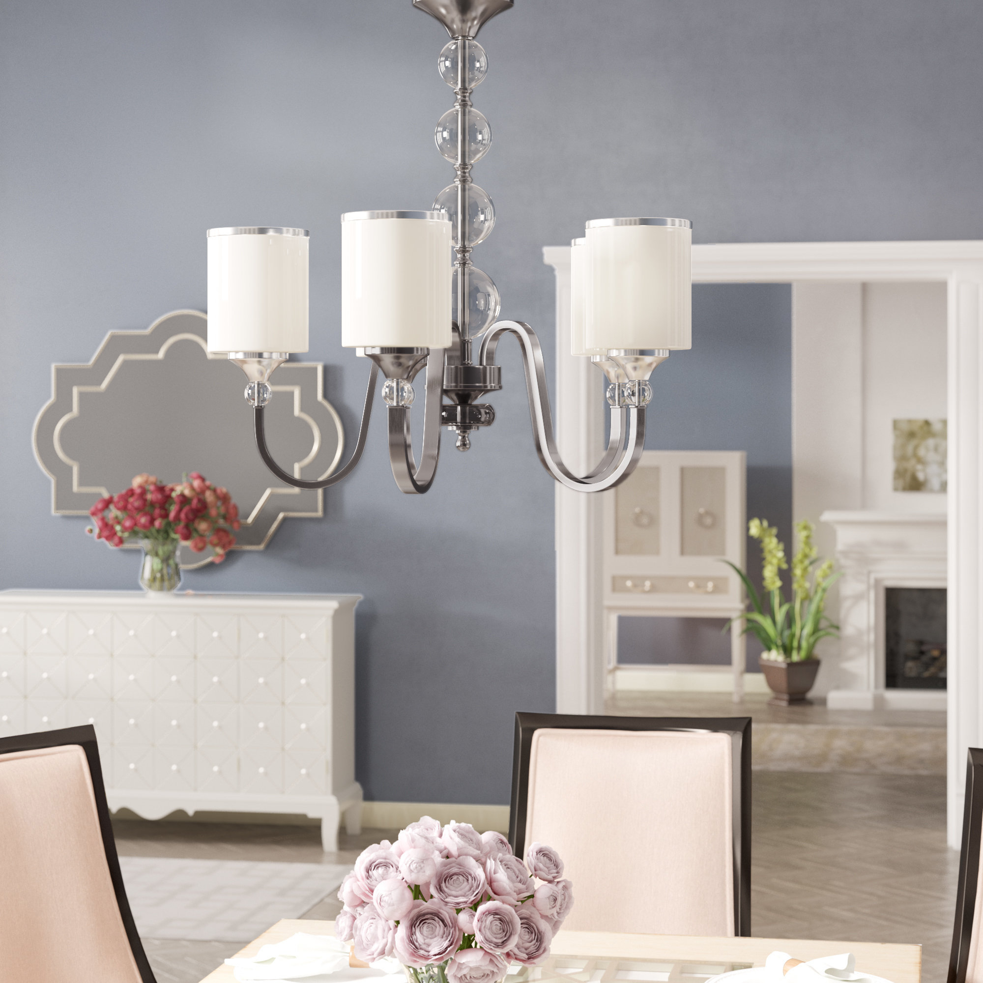 Carlitos 5-Light Shaded Chandelier with Corneau 5-Light Chandeliers (Image 11 of 30)