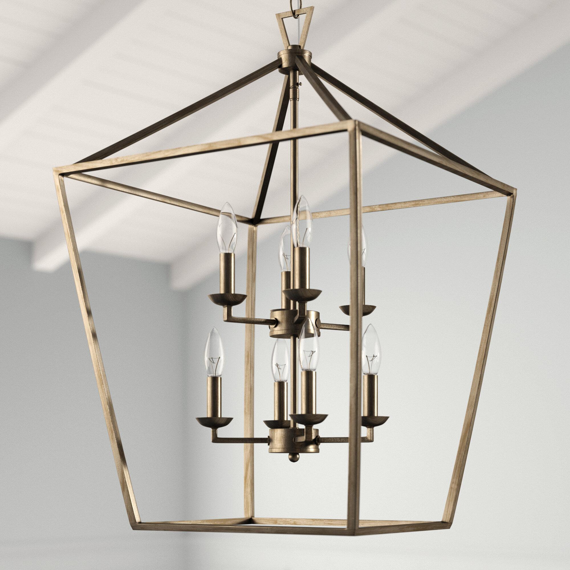 Carmen 8-Light Lantern Geometric Pendant for Odie 8-Light Lantern Square / Rectangle Pendants (Image 4 of 30)