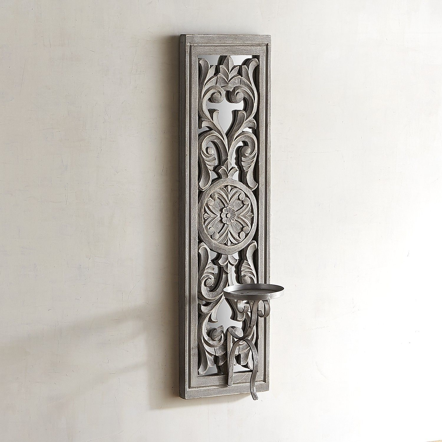 Carved White Wood Candle Holder Wall Sconce | Products In inside 1 Piece Ortie Panel Wall Decor (Image 7 of 30)