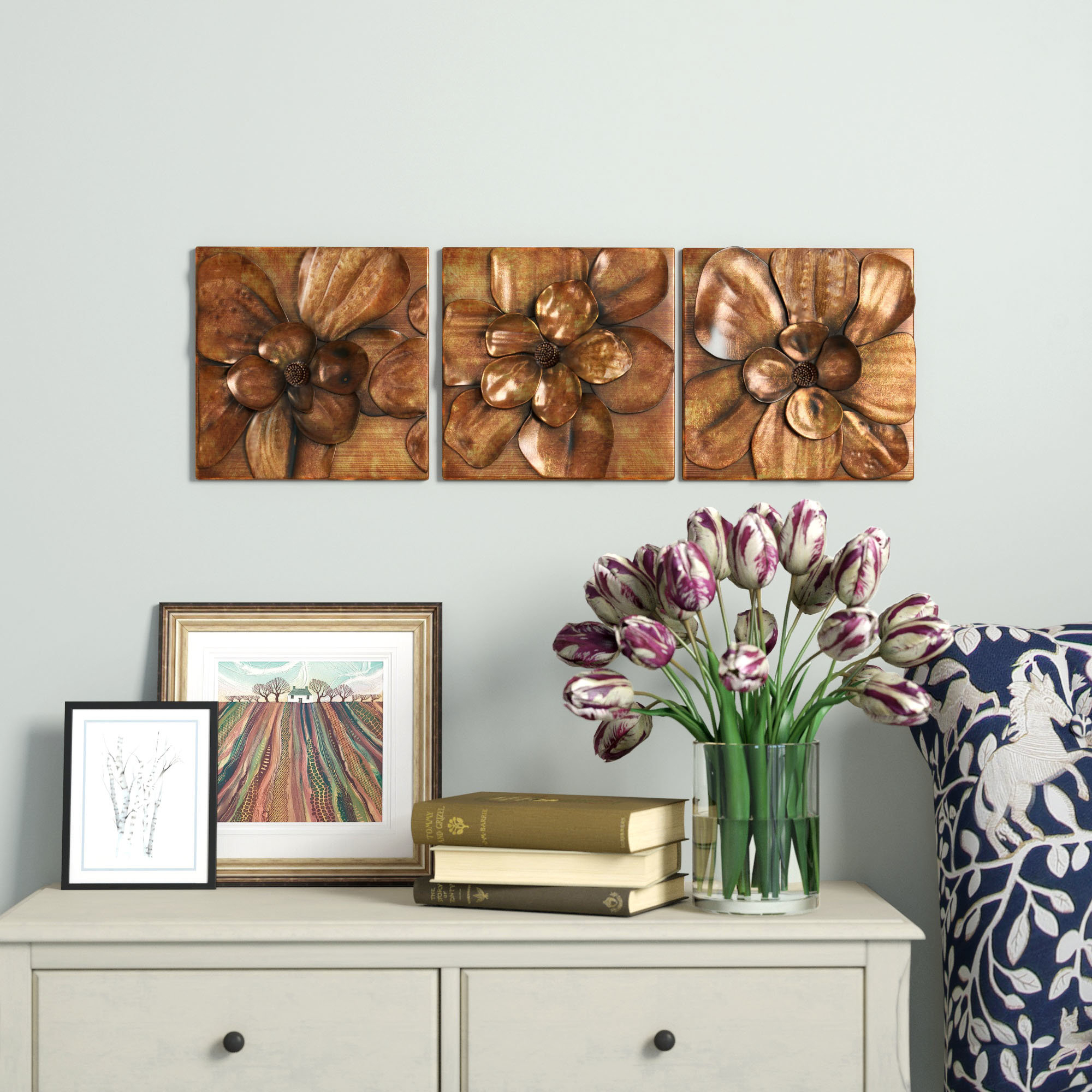 Carved Wooden Wall Panel | Wayfair.co.uk throughout 3 Piece Magnolia Brown Panel Wall Decor Sets (Image 12 of 30)