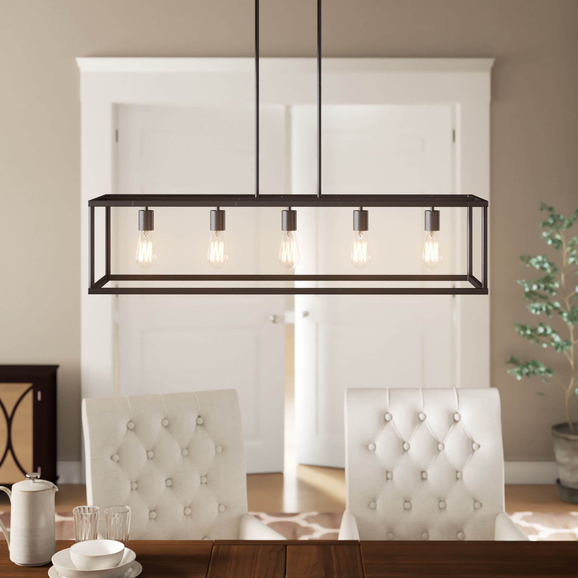 Cassie 5 Light Kitchen Island Linear Pendant In Sousa 4 Light Kitchen Island Linear Pendants (View 11 of 30)