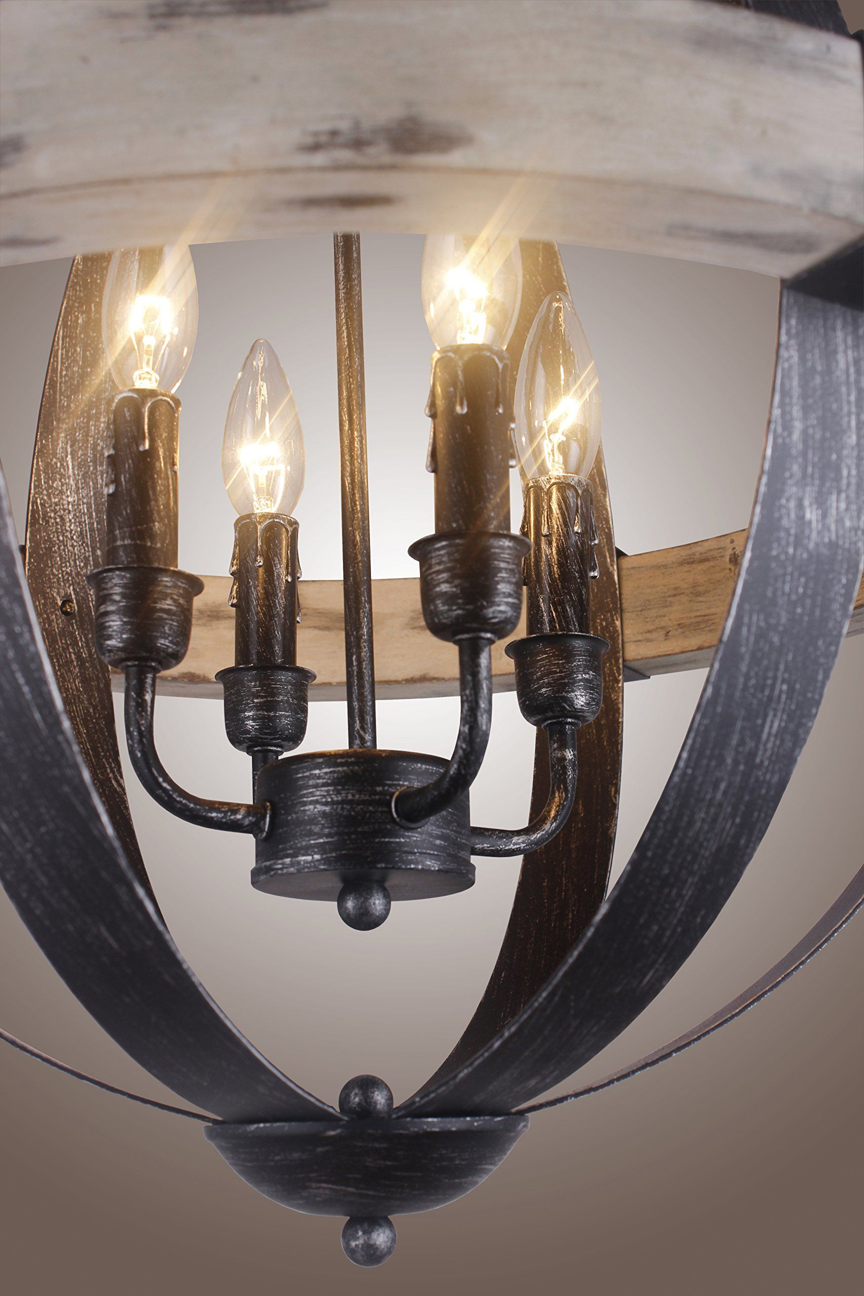 Castello Black Aspen Wrought Iron Globe Wood 4 Light Dia 20 With Regard To Crofoot 5 Light Shaded Chandeliers (View 3 of 30)