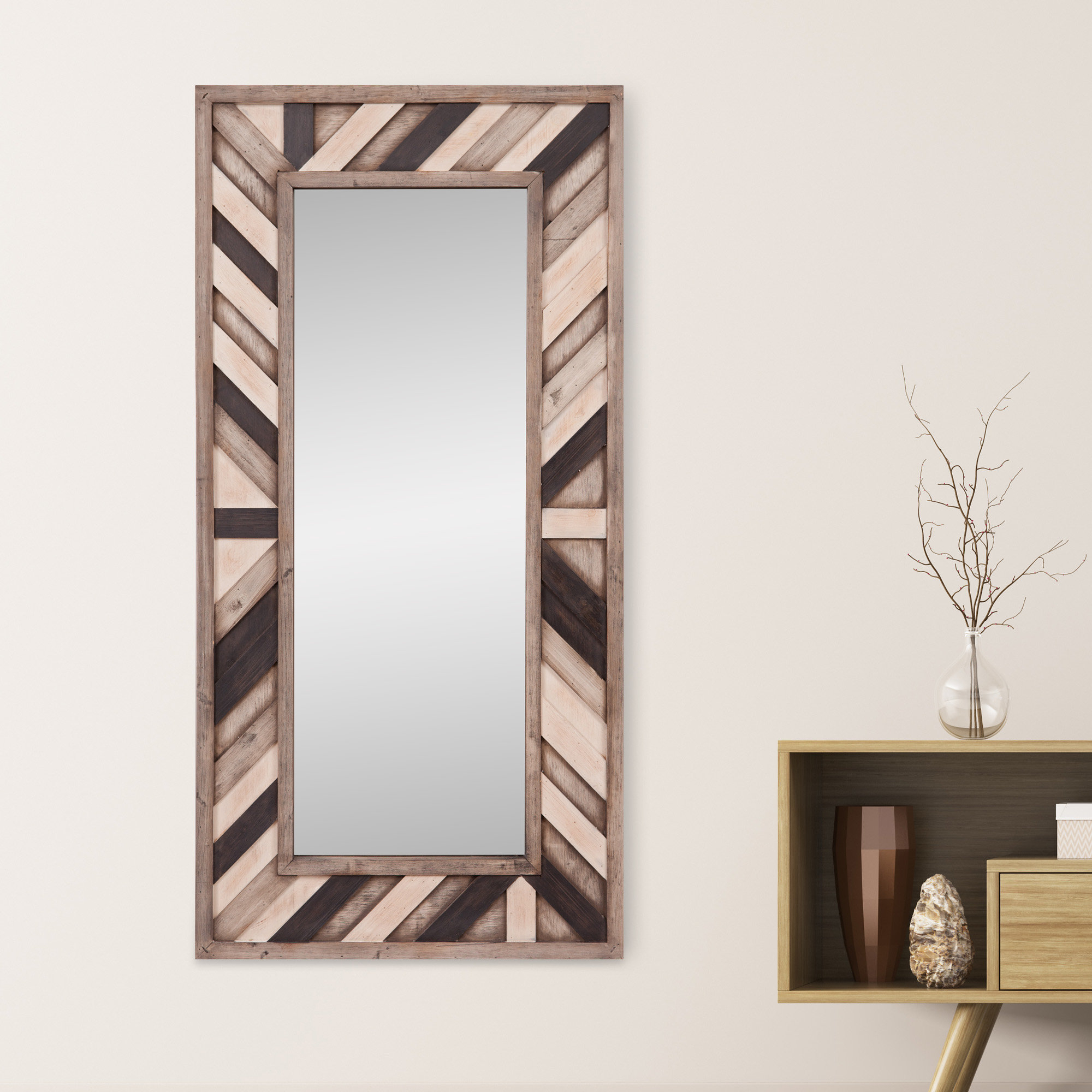 Catalano Rustic Wood Wall Mounted Mirror With Polen Traditional Wall Mirrors (View 5 of 30)