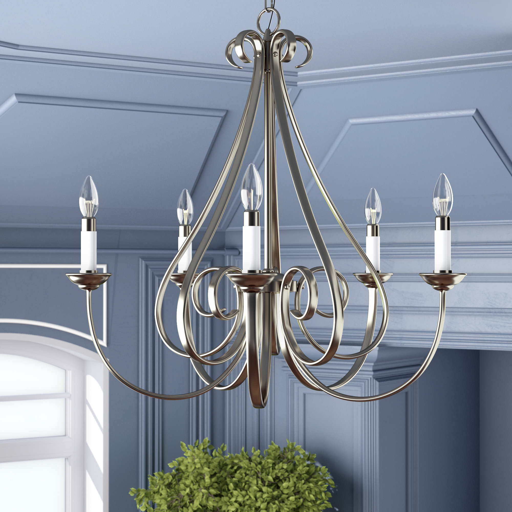Cayman 5 Light Candle Style Chandelier Within Berger 5 Light Candle Style Chandeliers (View 5 of 30)