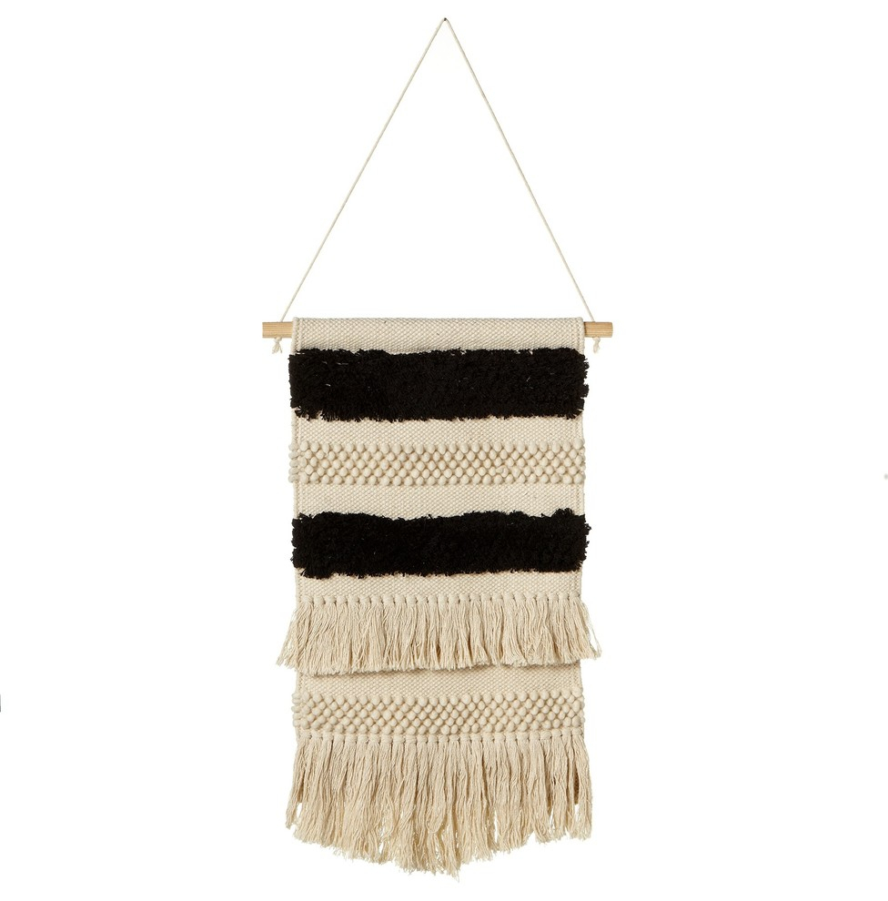 Cbk Cotton Hand Woven Black And White Wall Hanging With Fringe 159758 with 4 Piece Handwoven Wheel Wall Decor Sets (Image 11 of 30)