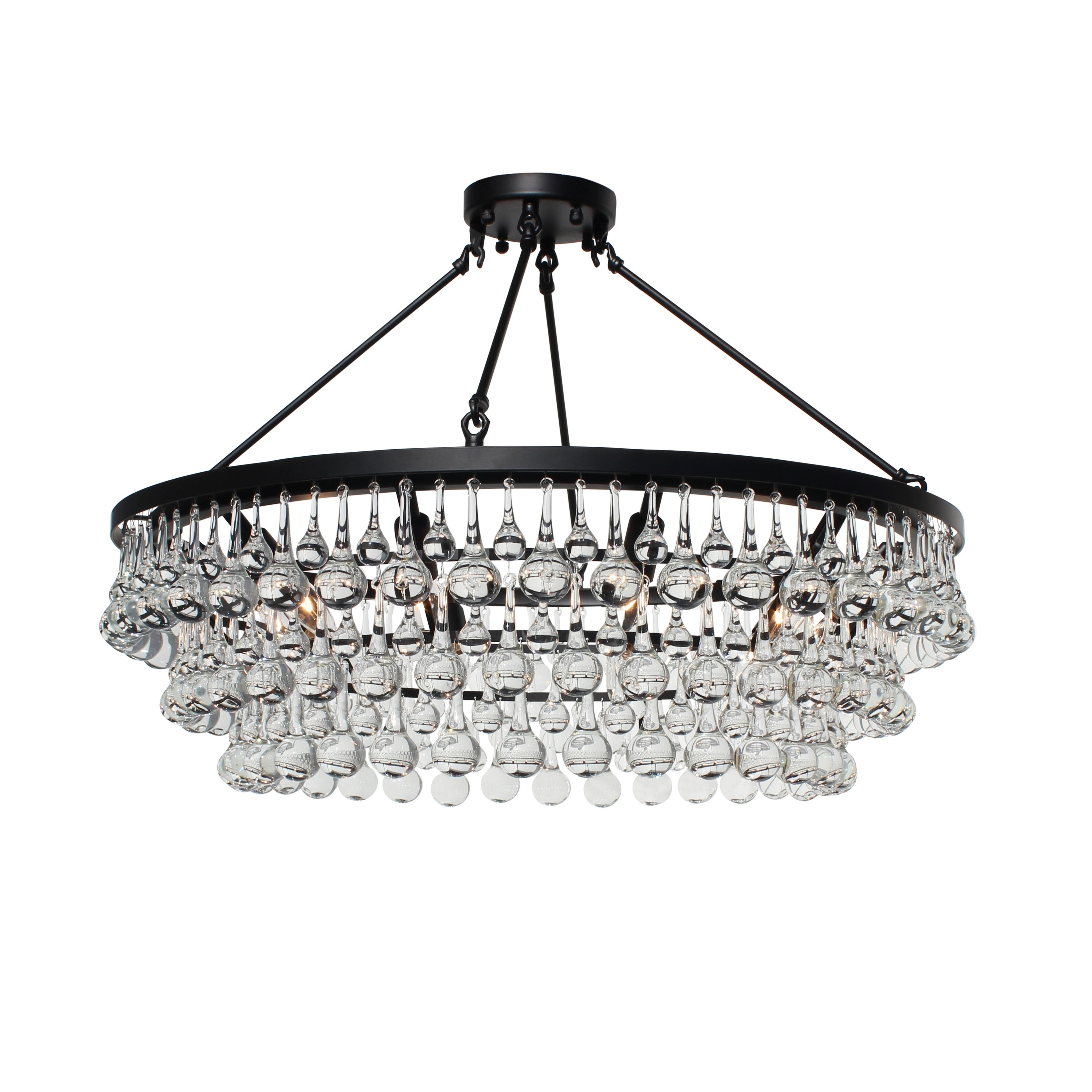 Celeste Glass Flush Mount Crystal Chandelier, Black – N/a In Mcknight 9 Light Chandeliers (View 11 of 30)