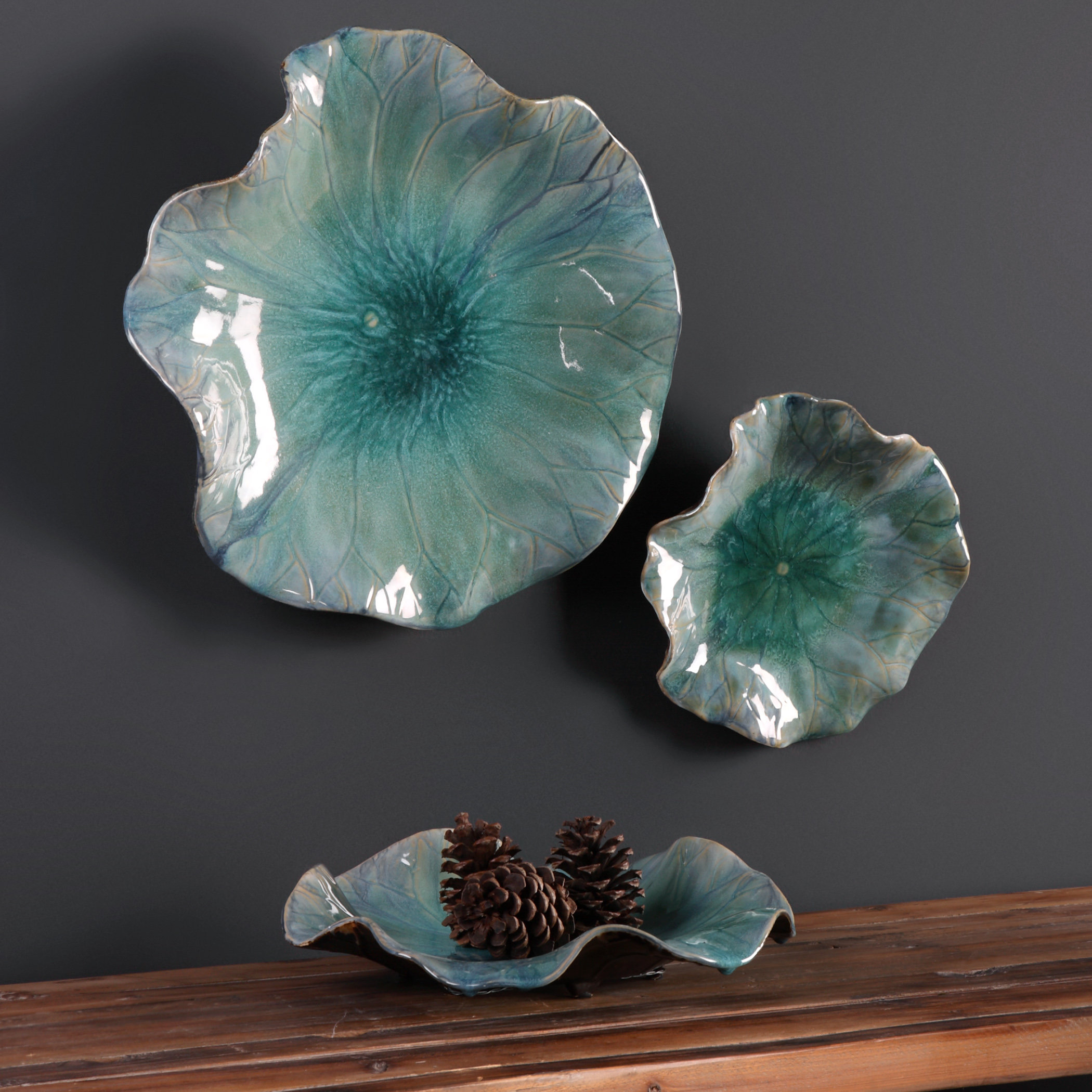 Ceramic Wall Flower | Wayfair in 3 Piece Ceramic Flowers Wall Decor Sets (Image 17 of 30)