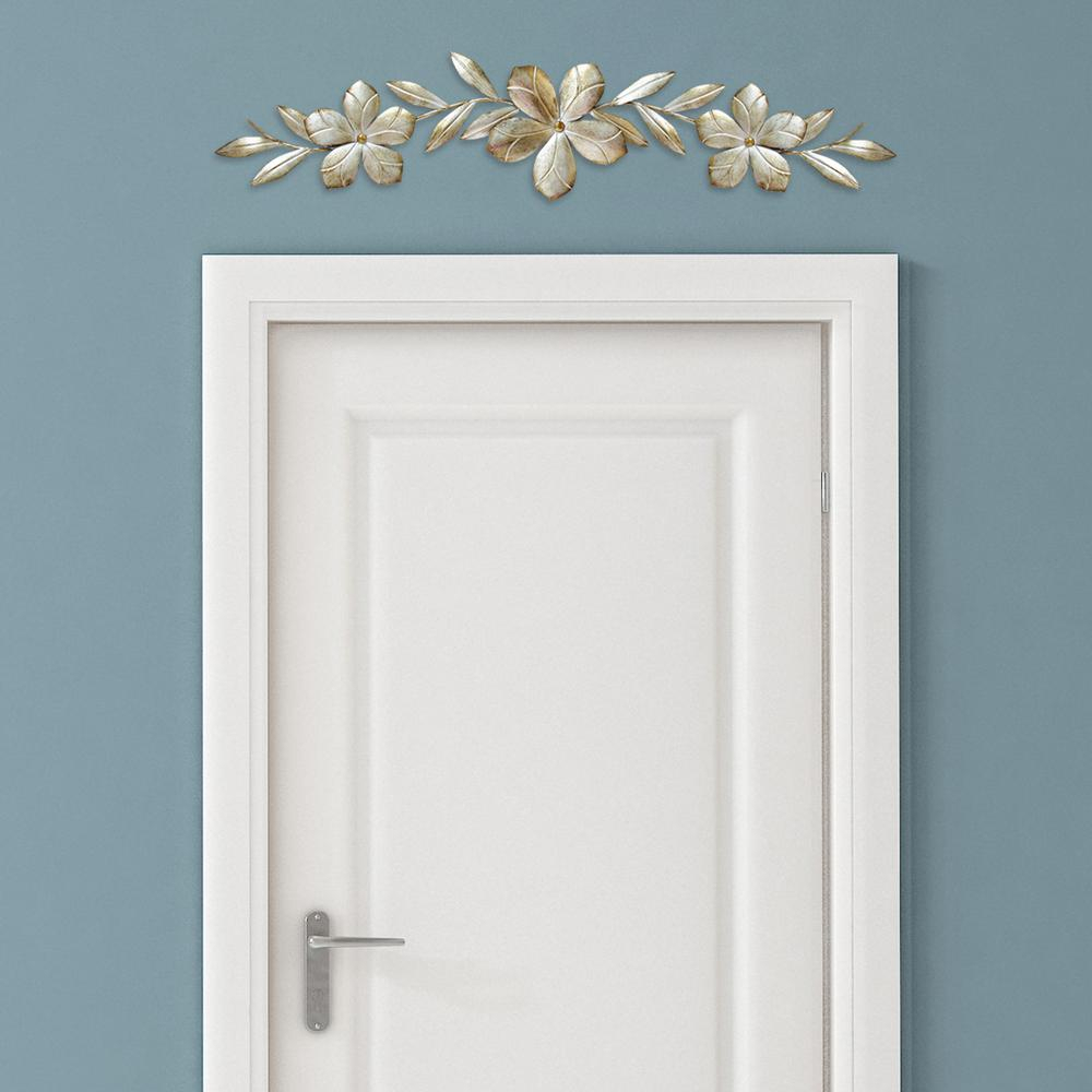 Champagne Metal Flower Over The Door Wall Decor Throughout Brushed Pearl Over The Door Wall Decor (View 3 of 30)