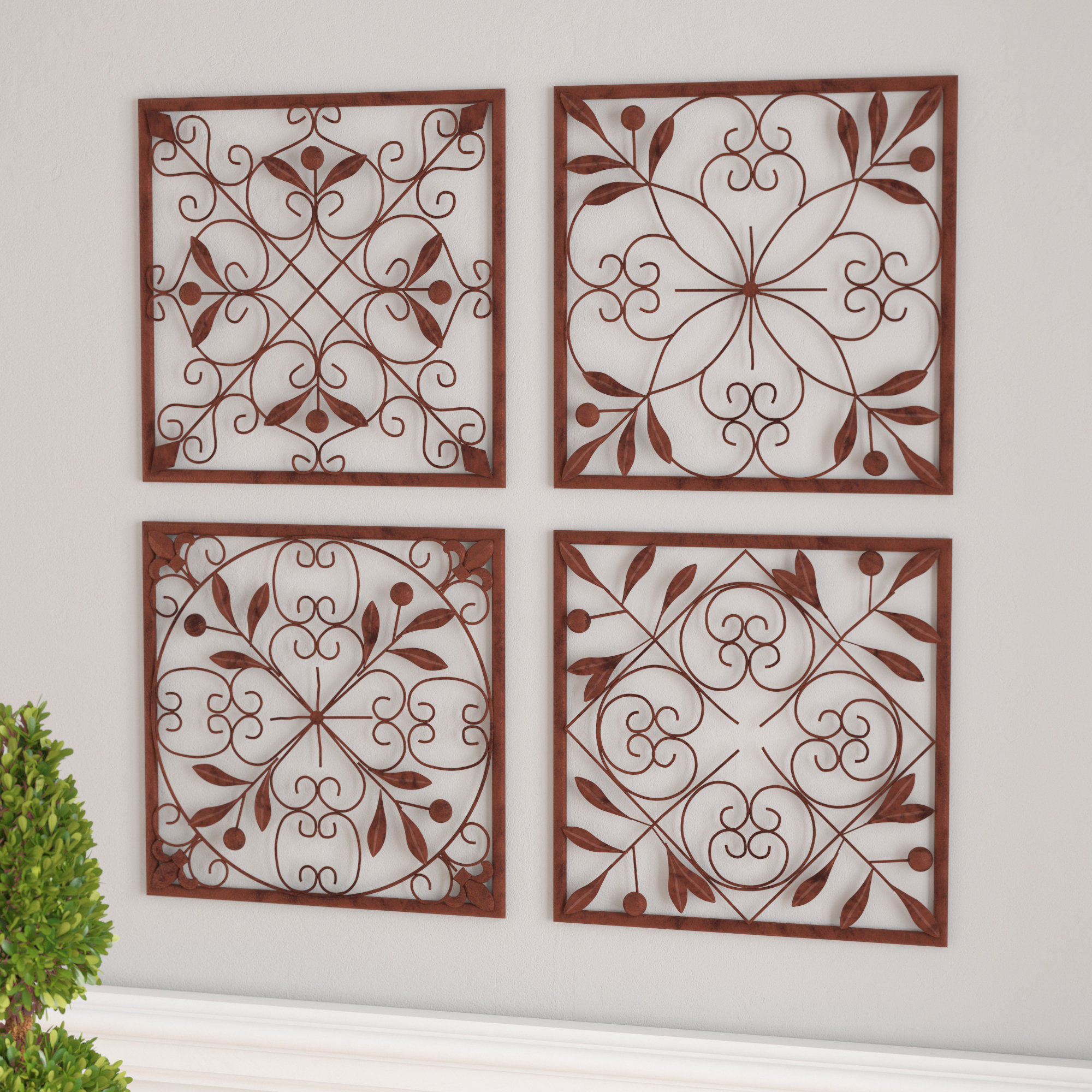 Charlton Home 4 Piece Wall Décor Set & Reviews | Wayfair intended for Metal Wall Decor by Charlton Home (Image 5 of 30)