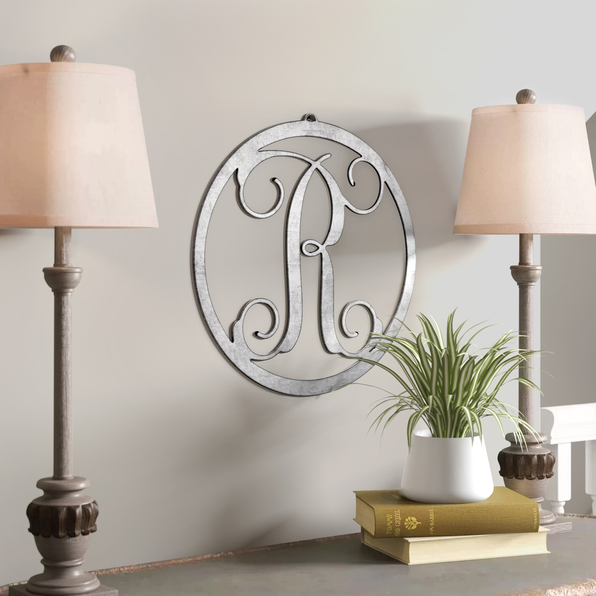 Charlton Home Metal Single Letter Circle Monogram Wall Decor Inside Wall Decor By Charlton Home (View 22 of 30)