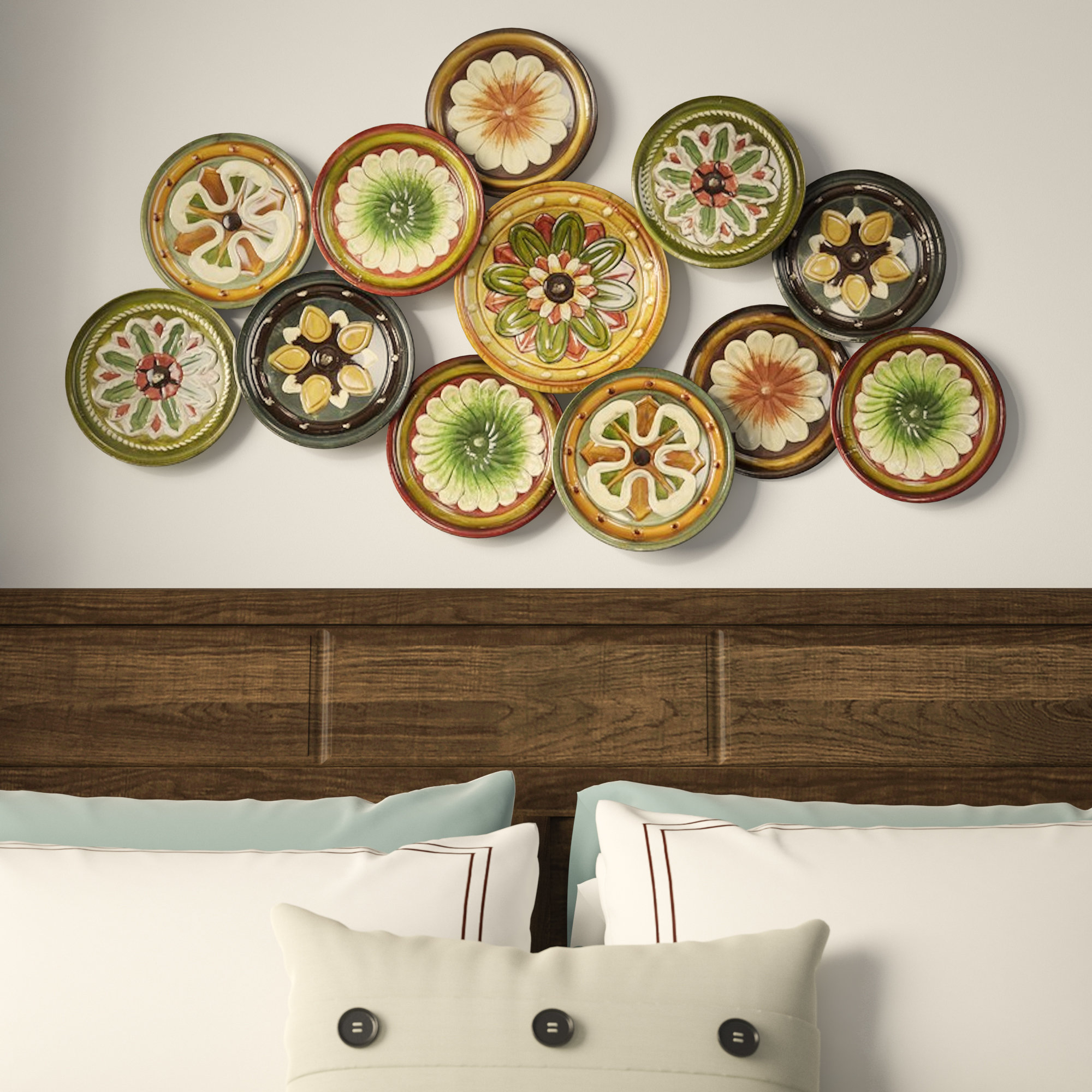 Charlton Home Metal Wall Décor Regarding Scattered Metal Italian Plates Wall Decor (View 5 of 30)