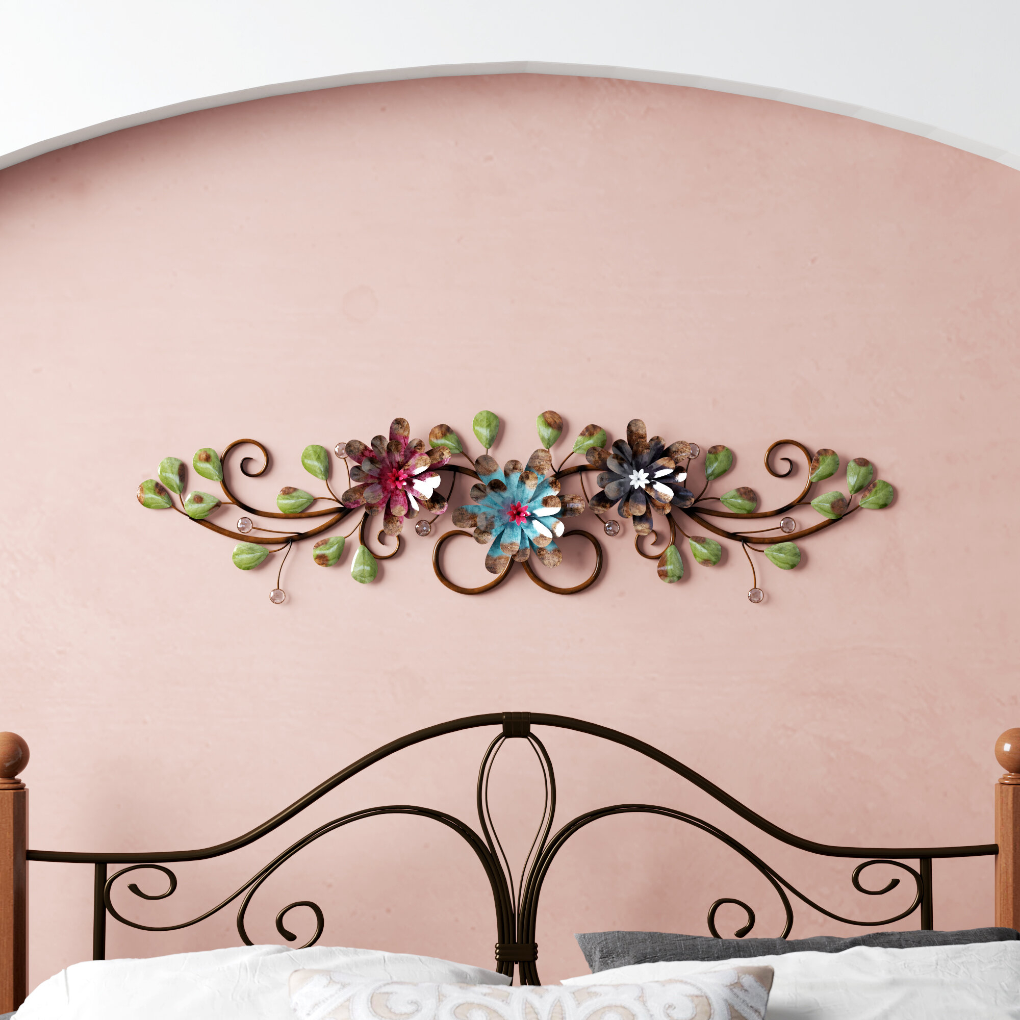 Featured Photo of Three Flowers On Vine Wall Decor
