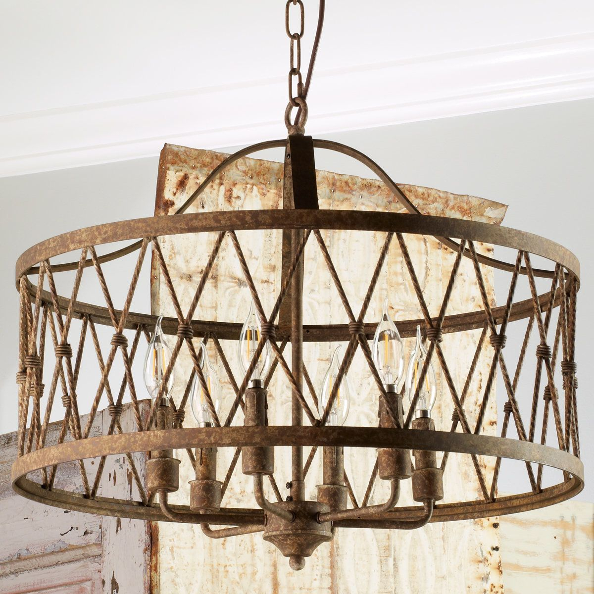Check Out Faded Rustic Drum Cage Chandelier – 6 Light From Throughout Armande 4 Light Lantern Drum Pendants (Image 9 of 30)