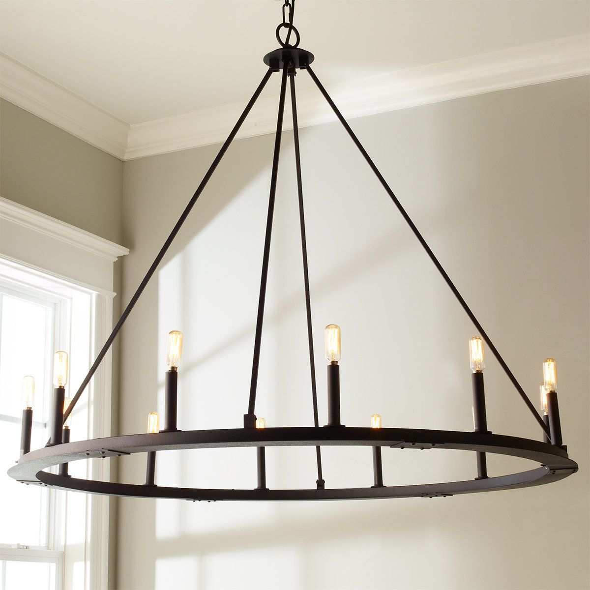 Check Out Minimalist Iron Ring Chandelier – 12 Light From Within Shayla 12 Light Wagon Wheel Chandeliers (View 7 of 30)