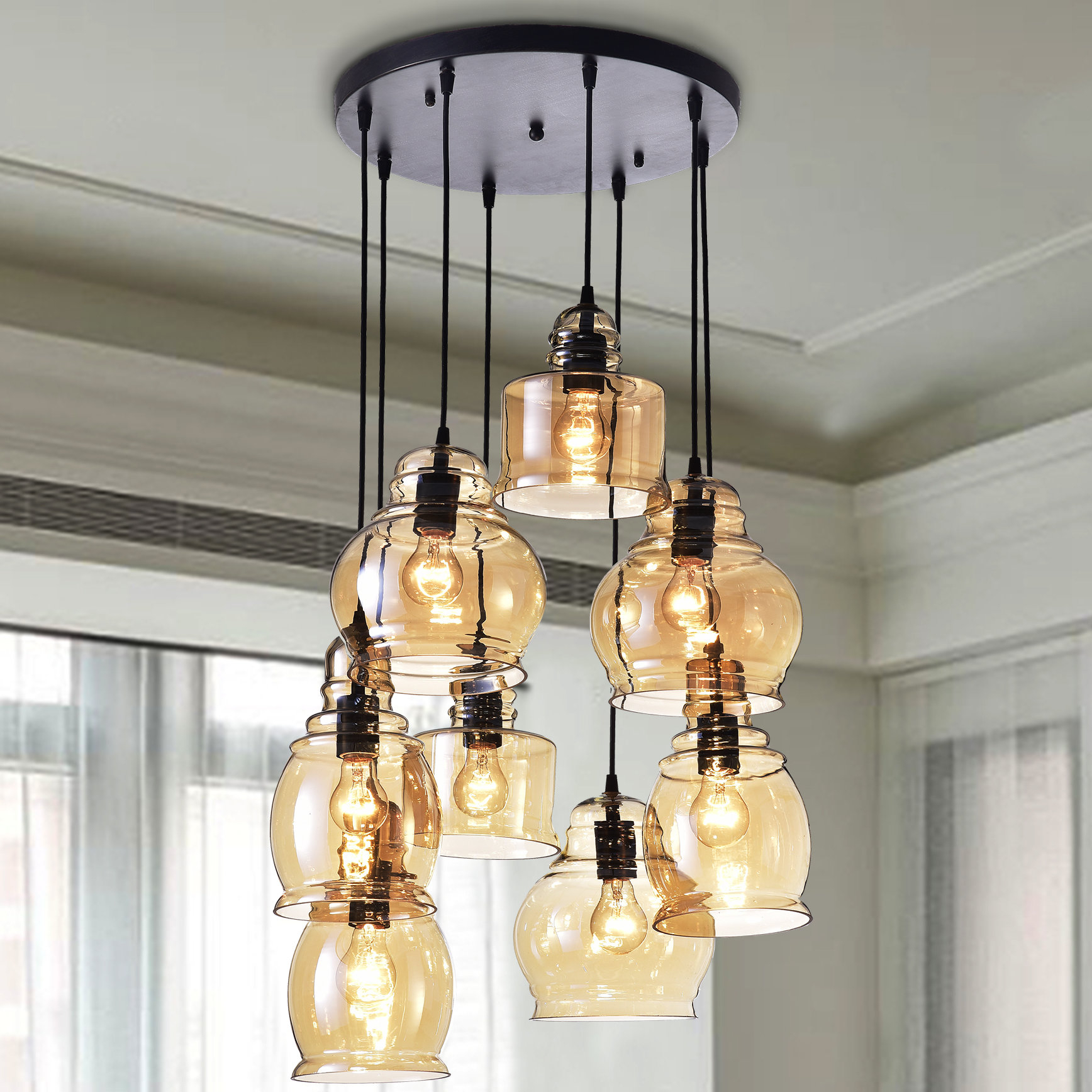 Cherrie 8 Light Cluster Bell Pendant Throughout Pruett Cognac Glass 8 Light Cluster Pendants (View 13 of 30)