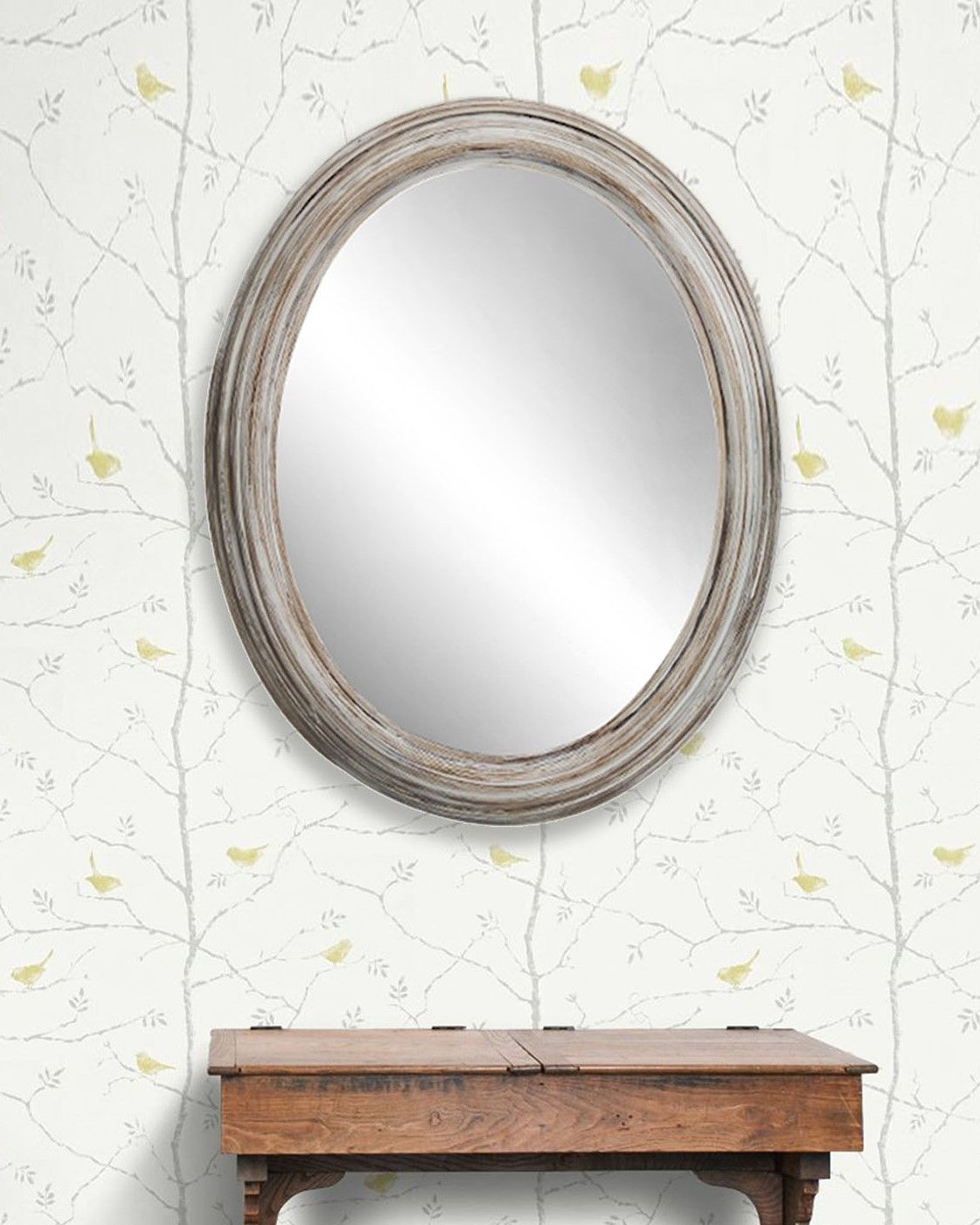 Chester Large Oval Wooden Wall Mirror In Distressed Wood With Oval Wood Wall Mirrors (View 5 of 30)