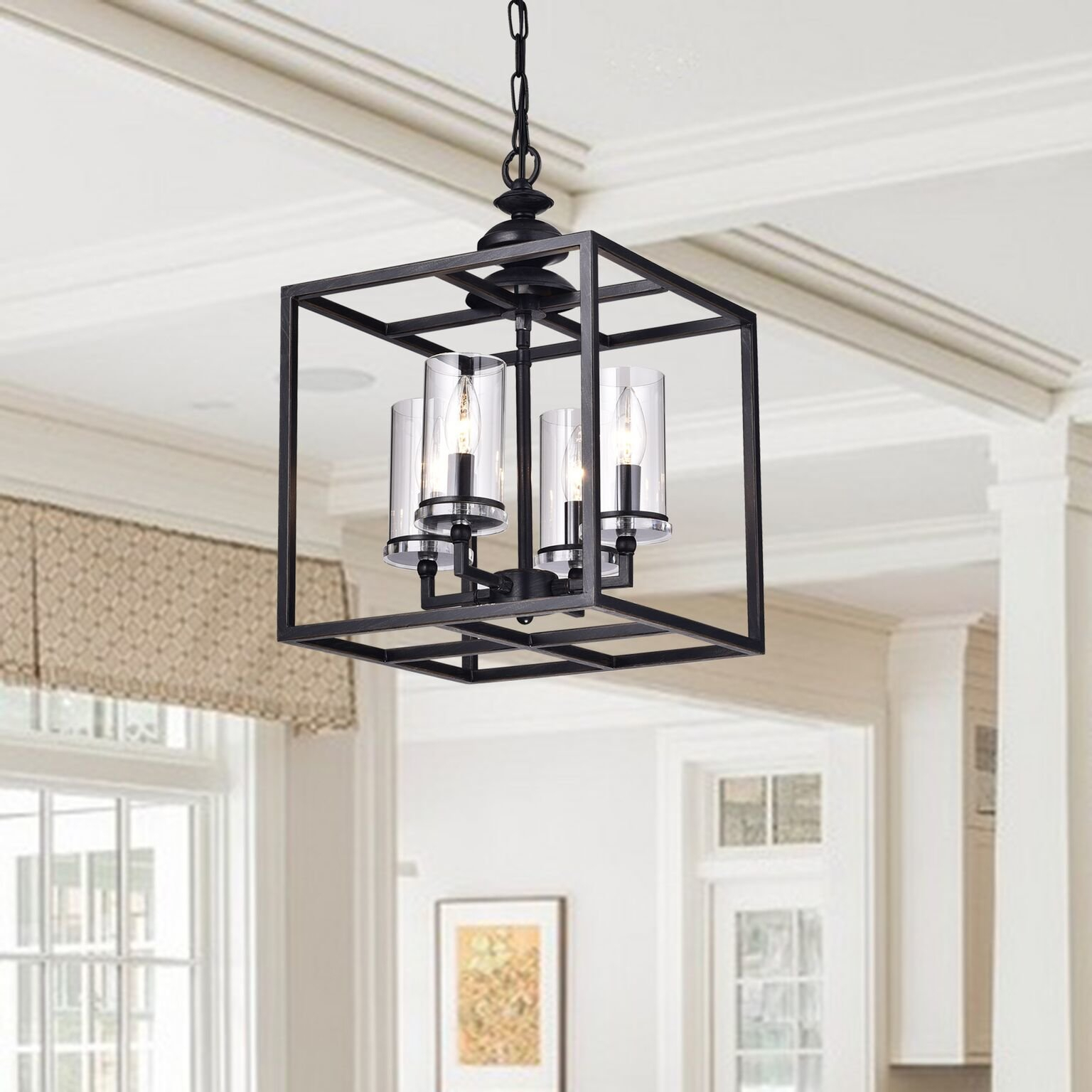 Cheverton 4-Light Square/rectangle Chandelier for Sherri-Ann 3-Light Lantern Square / Rectangle Pendants (Image 3 of 30)