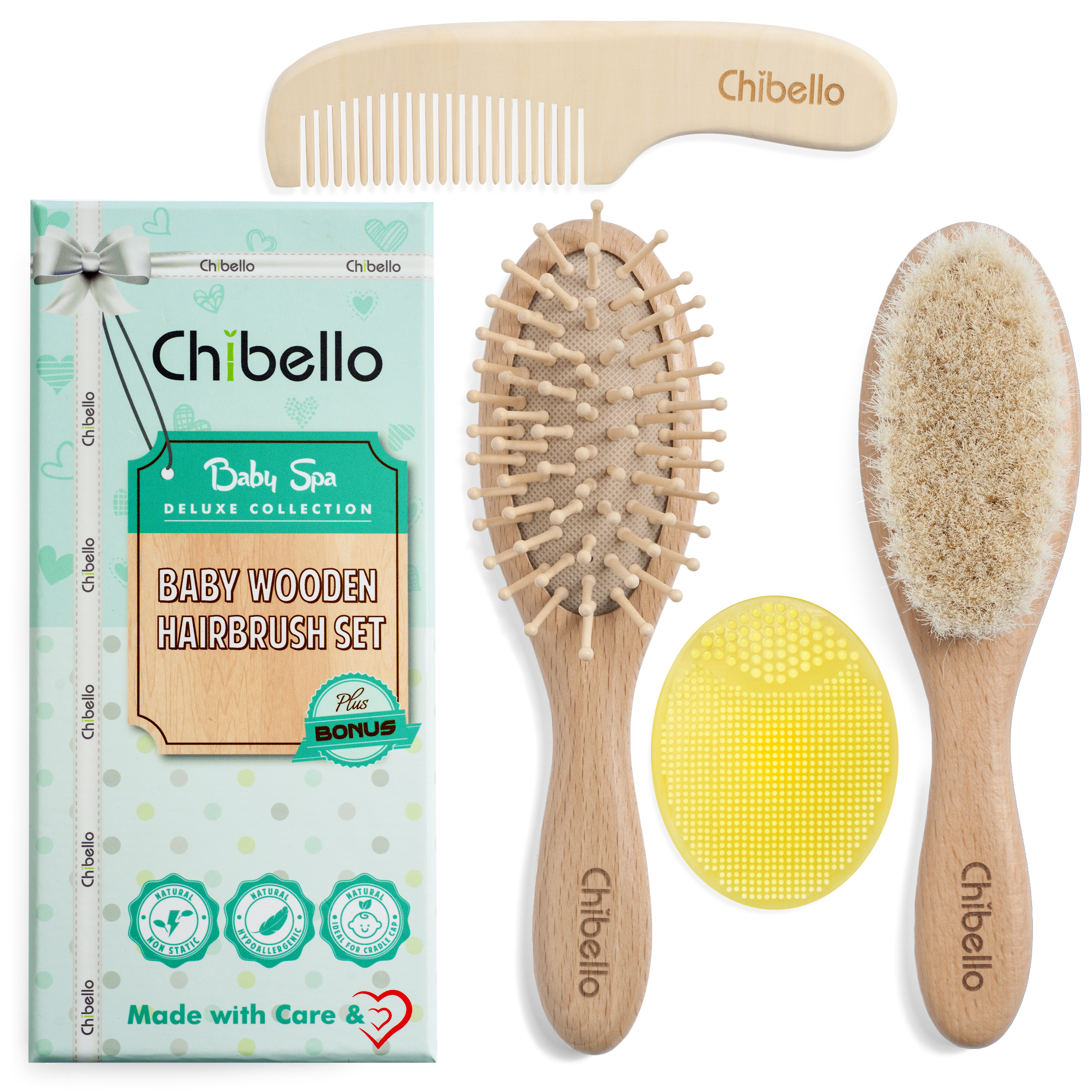 Chibello 4 Piece Wooden Baby Hair Brush And Comb Set regarding 3 Piece Wash, Brush, Comb Wall Decor Sets (Set Of 3) (Image 11 of 30)