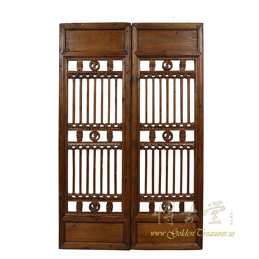Chinese Antique Window Shutters Wall Hanging Pair Decorative Within Shutter Window Hanging Wall Decor (View 13 of 30)