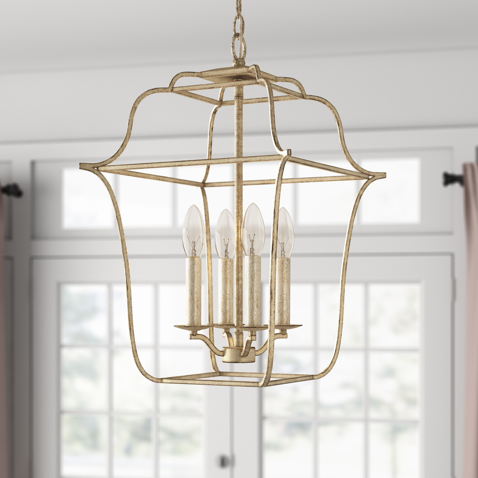 Chloe 4 Light Lantern Geometric Pendant Within Armande 4 Light Lantern Drum Pendants (View 7 of 30)