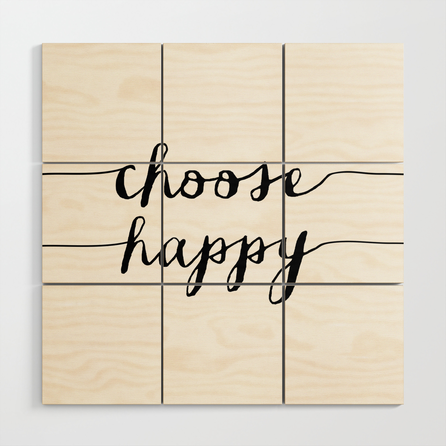 Choose Happy Black And White Monochrome Typography Poster Design Home Decor  Bedroom Wall Art Wood Wall Artthemotivatedtype regarding Choose Happy Wood Wall Decor (Image 11 of 30)