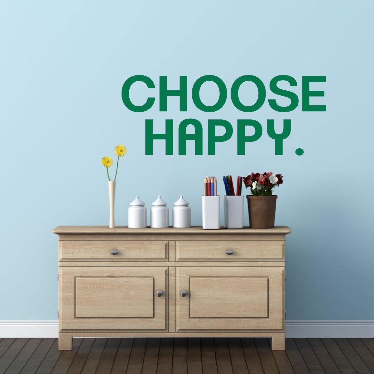 Choose Happy Wall Decal Vinyl Decor Wall Decal in Choose Happy Wood Wall Decor (Image 14 of 30)