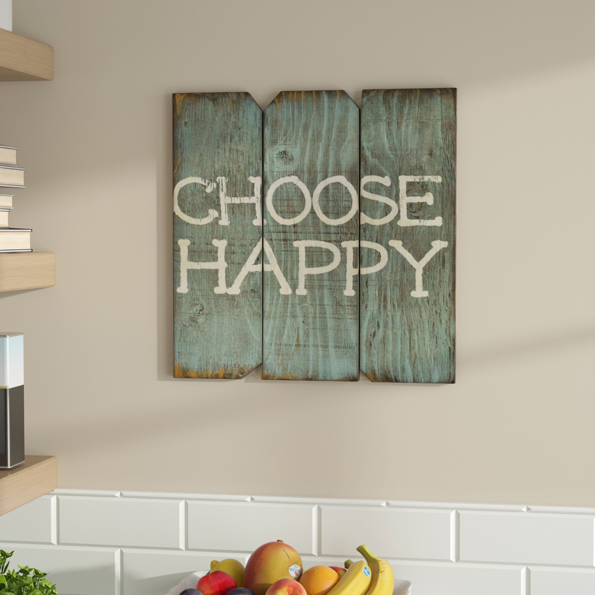 Choose Happy Wooden Sign | Wayfair Inside Choose Happiness 3D Cursive Metal Wall Decor (View 2 of 30)