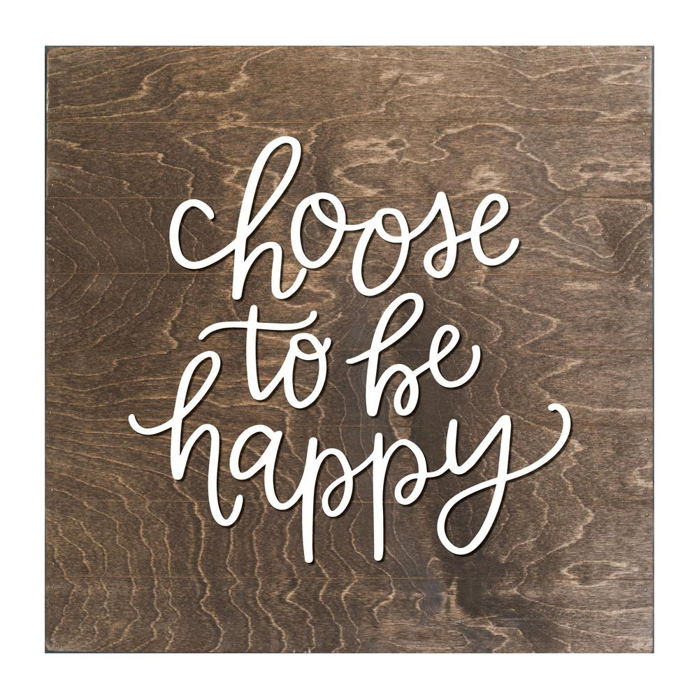 Choose To Be Happy Wood Slat Board, Brown, White Letters, Memo Board within Choose Happy Wood Wall Decor (Image 21 of 30)