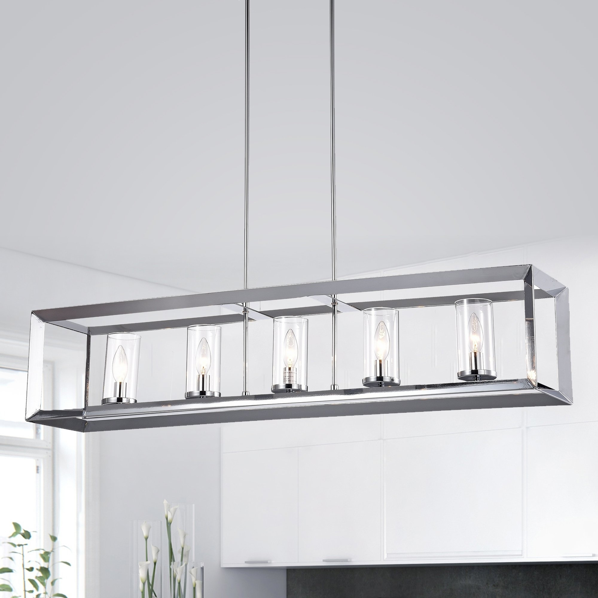 Ciel 41 Inch Chrome Finish 5 Light Chandelier | Products In Regarding Thorne 5 Light Kitchen Island Pendants (View 20 of 30)