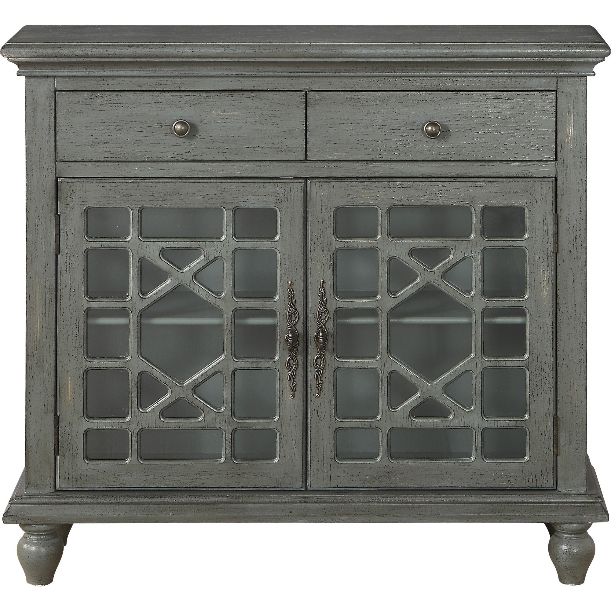 Cimmeron 2 Drawer 2 Door Cupboard Gray – Treasure Trove Within Raunds Sideboards (View 24 of 30)