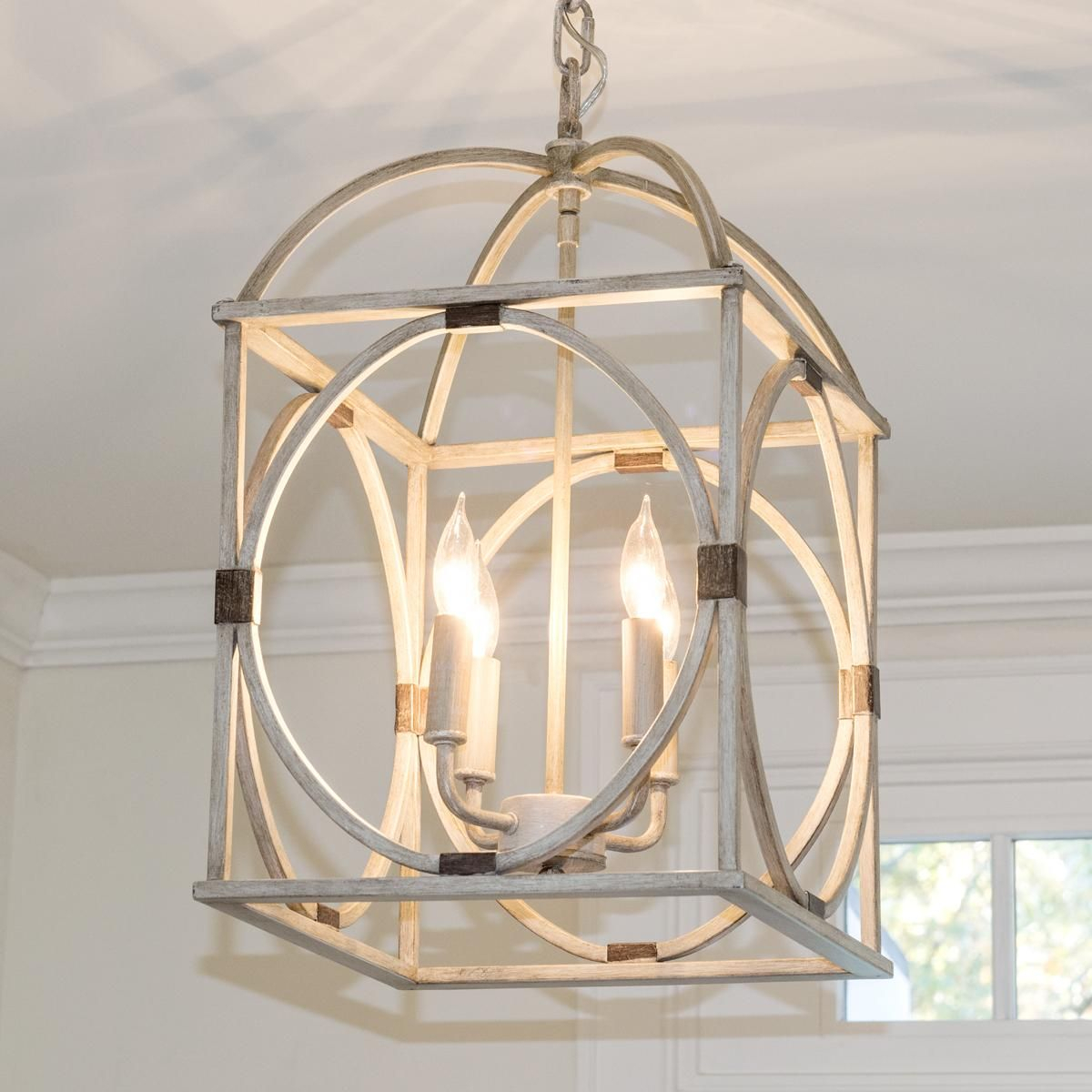 Circle Lattice Hanging Lantern - 4 Light | Lanterns | Entry inside Armande 3-Light Lantern Geometric Pendants (Image 14 of 30)