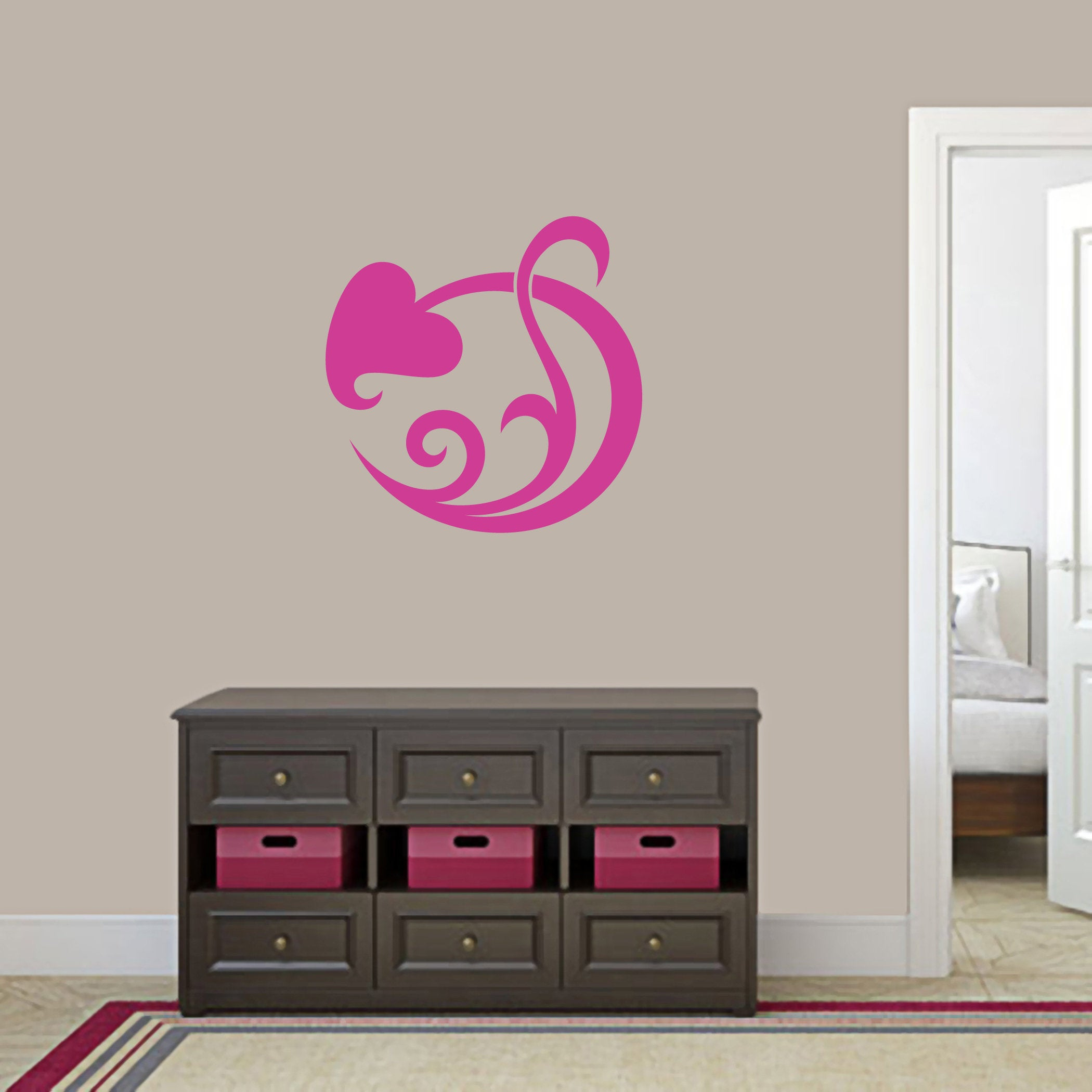 Circle Leaf Scroll Wall Decal // Flowers And Shapes // Entryway // Kids Room // Nursery // Wall Decor // Wall Sticker // Vinyl Wall Decal Intended For Scroll Leaf Wall Decor (View 13 of 30)