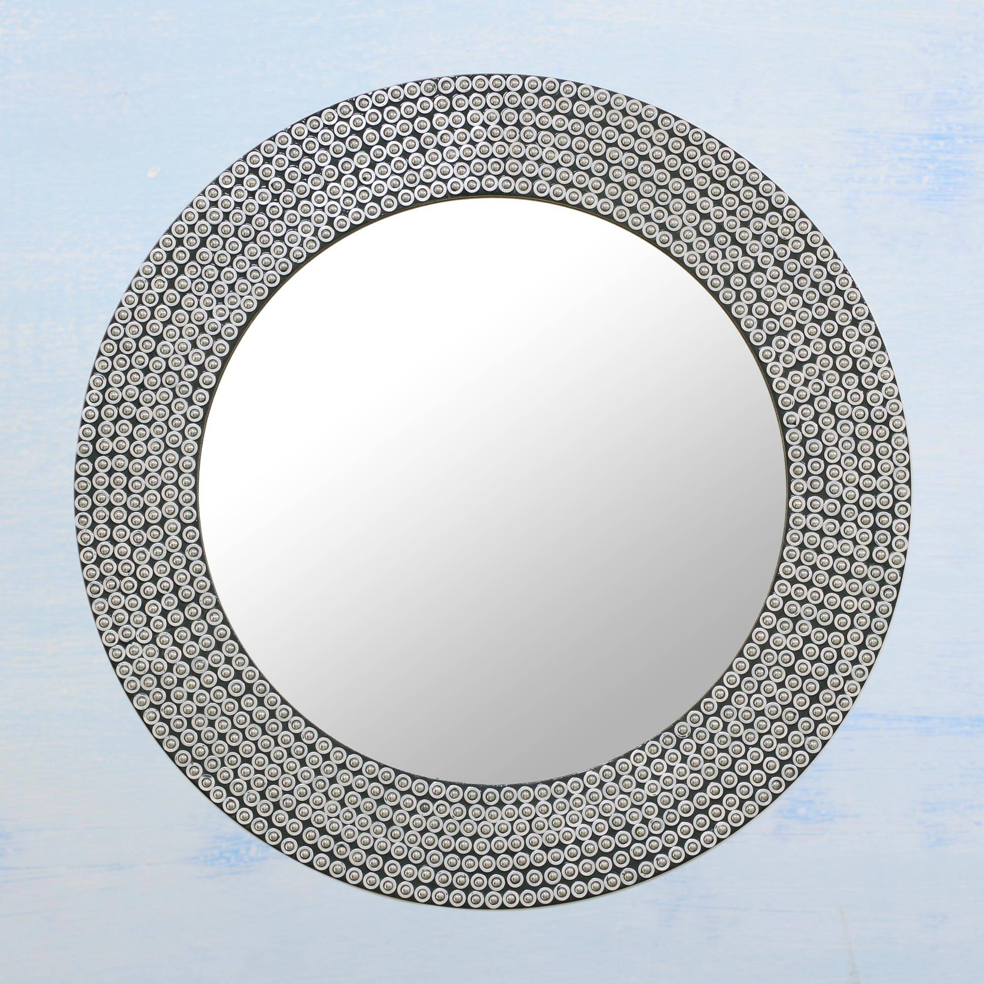 Circular Shimmering Metal Wall Mirror From India, 'silvery Shine' Pertaining To Round Galvanized Metallic Wall Mirrors (View 13 of 30)