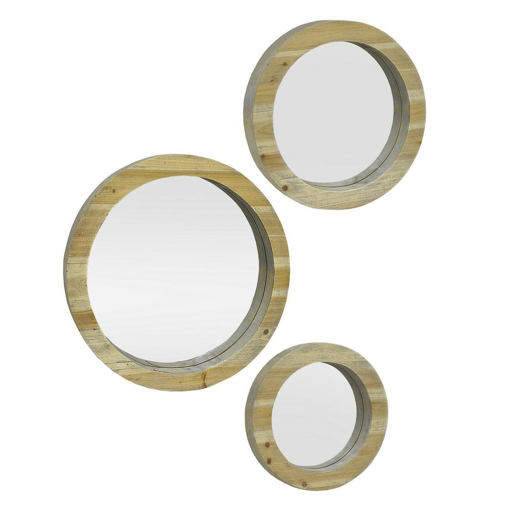 Circular Wood Decorative Wall Mirror Set With Oval Wood Wall Mirrors (View 6 of 30)