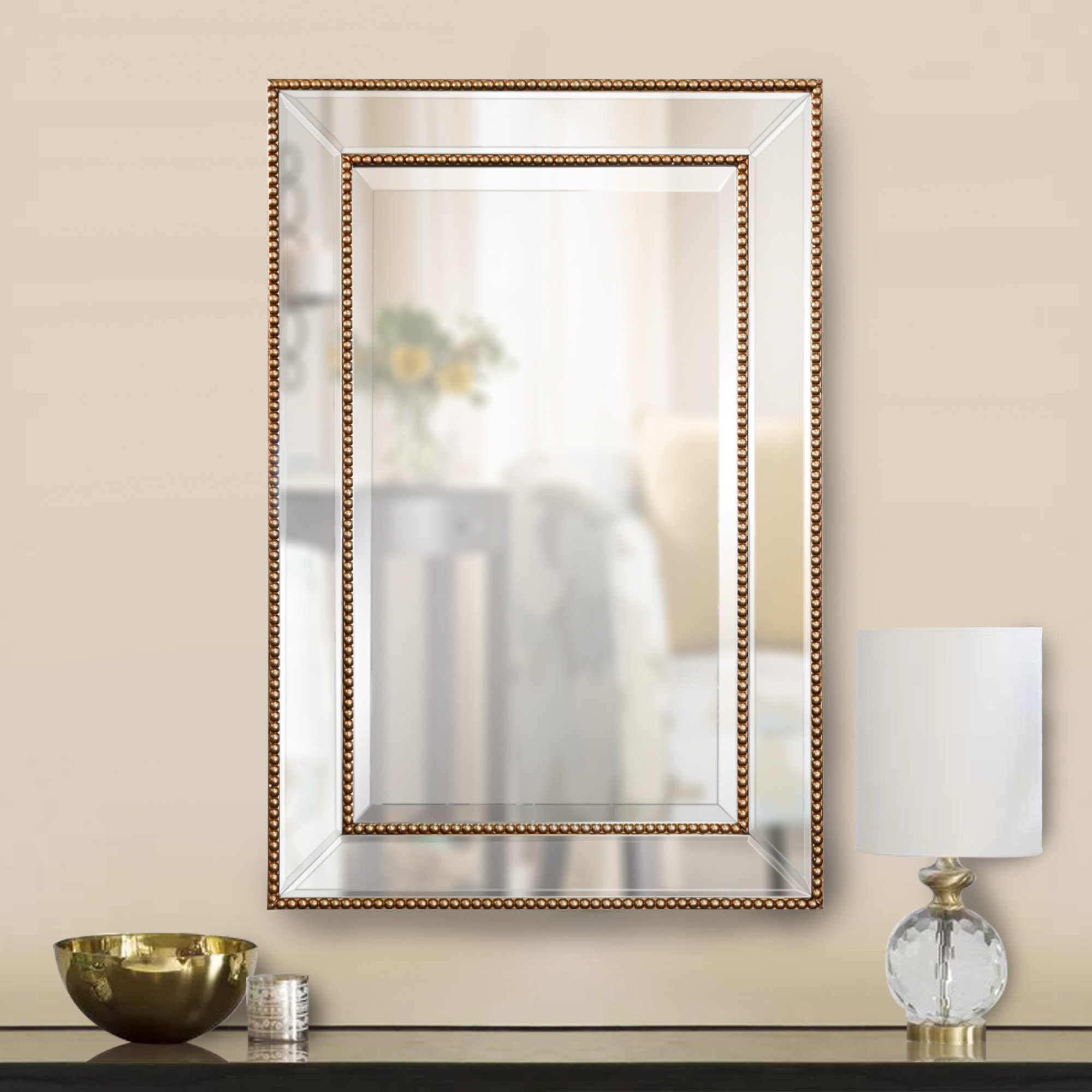 Clarine Beaded Wall Mirror Within Lake Park Beveled Beaded Accent Wall Mirrors (View 11 of 30)