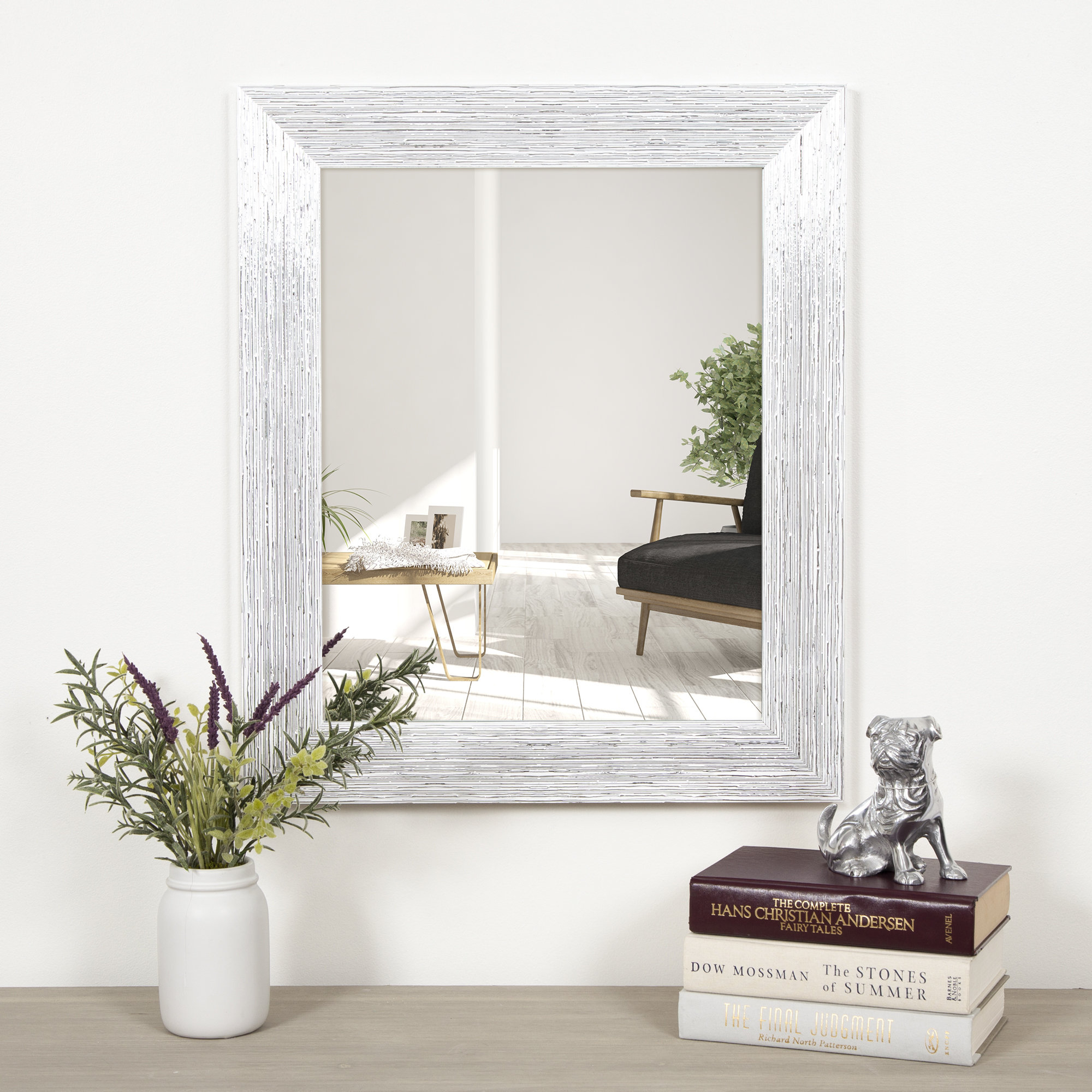 Clarisse Textured Framed Accent Mirror Throughout Epinal Shabby Elegance Wall Mirrors (View 6 of 30)