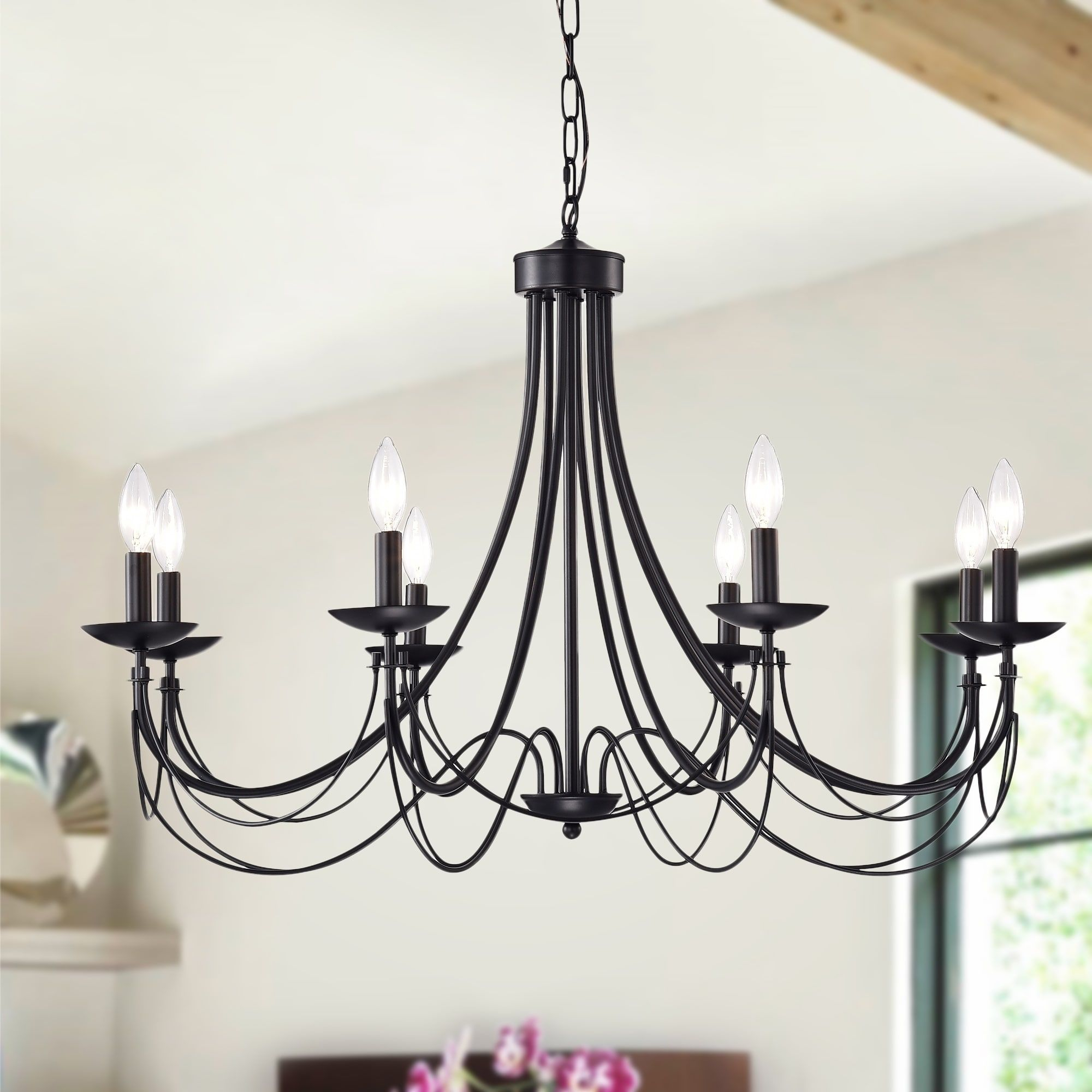 Clash 8 Light 35 Inch Matte Black Branched Chandelier In Florentina 5 Light Candle Style Chandeliers (View 20 of 30)