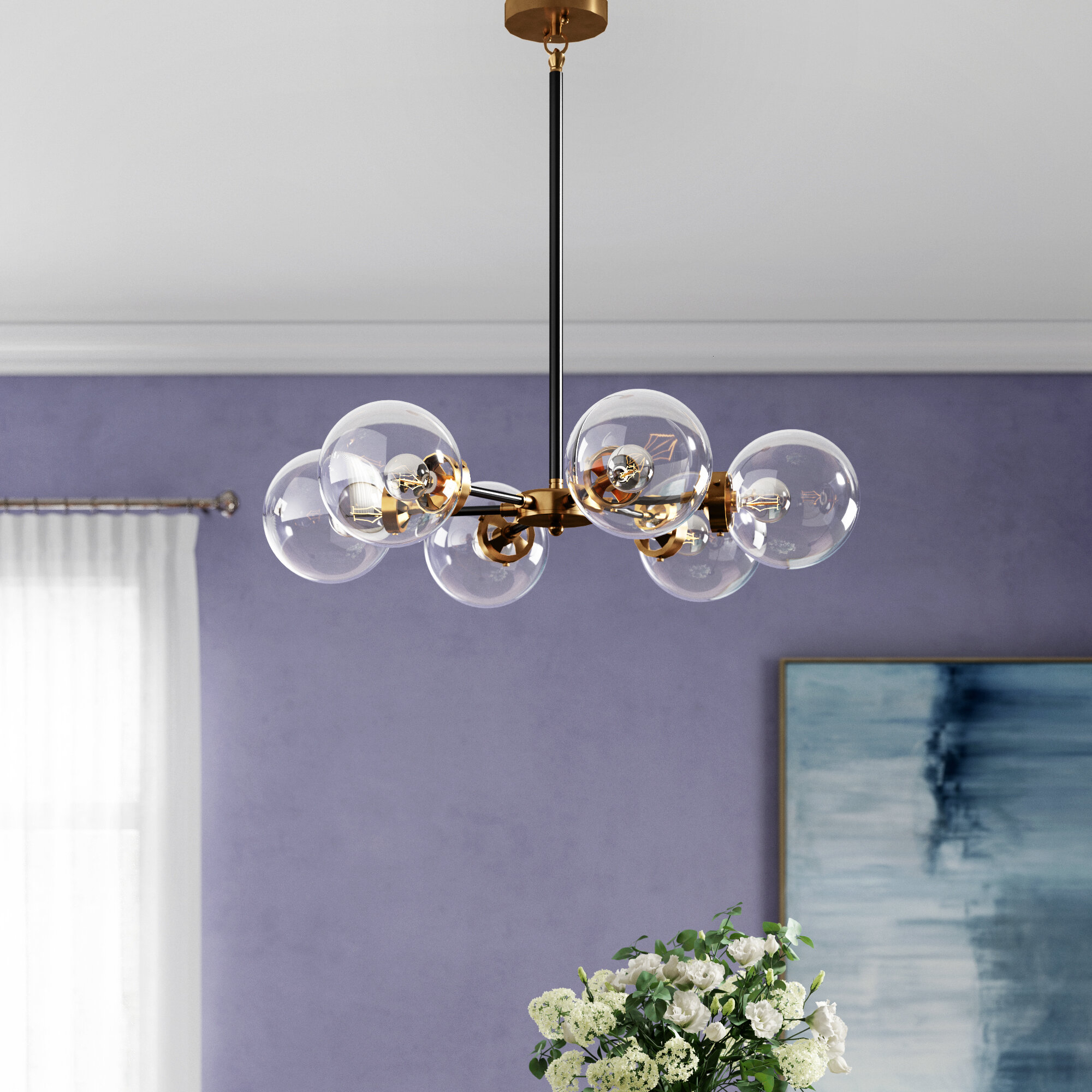 Claudio 6 Light Chandelier For Bautista 6 Light Kitchen Island Bulb Pendants (View 16 of 30)
