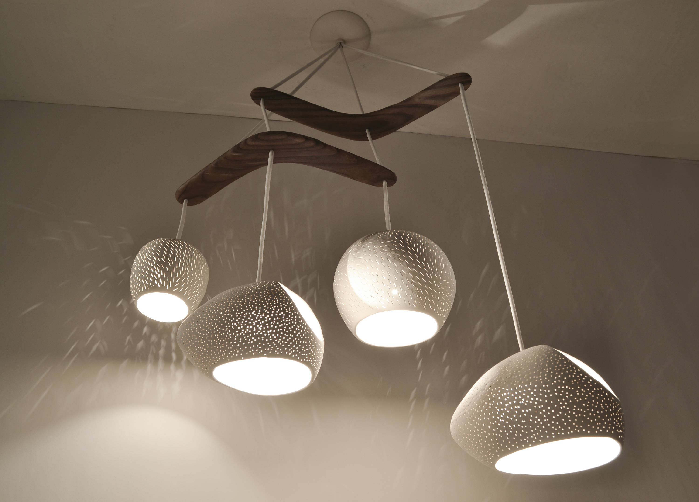 Claylight Boomerang Large : Ceramic Chandelier | Unique Light Fixture |  Pendant Light for Johanne 6-Light Sputnik Chandeliers (Image 5 of 30)