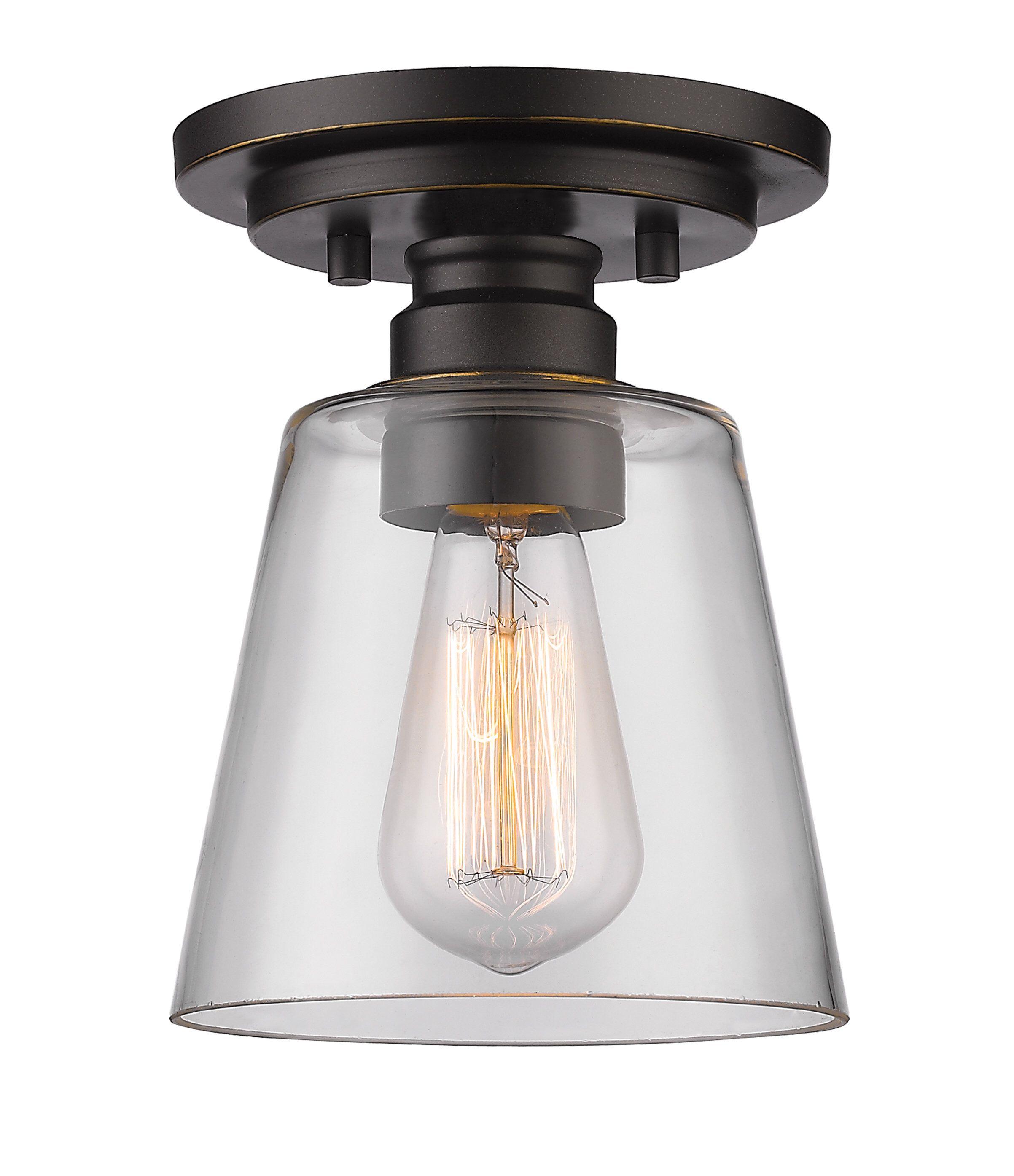 Clayton 1 Light Semi Flush Mount | House Ideas | Flush Mount With Regard To Erico 1 Light Single Bell Pendants (View 15 of 30)