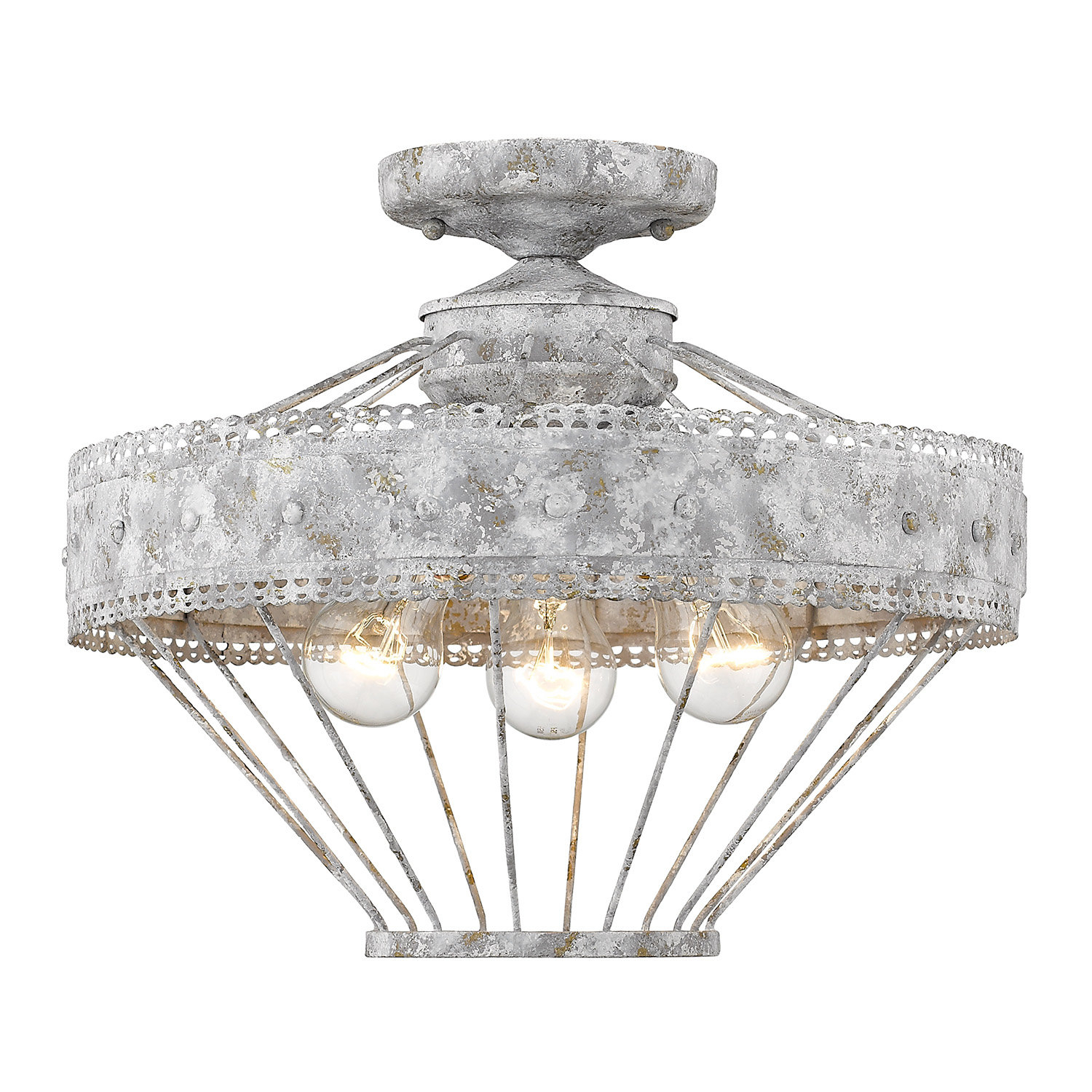 Cleo 3-Light Semi Flush Mount in Clea 3-Light Crystal Chandeliers (Image 7 of 30)