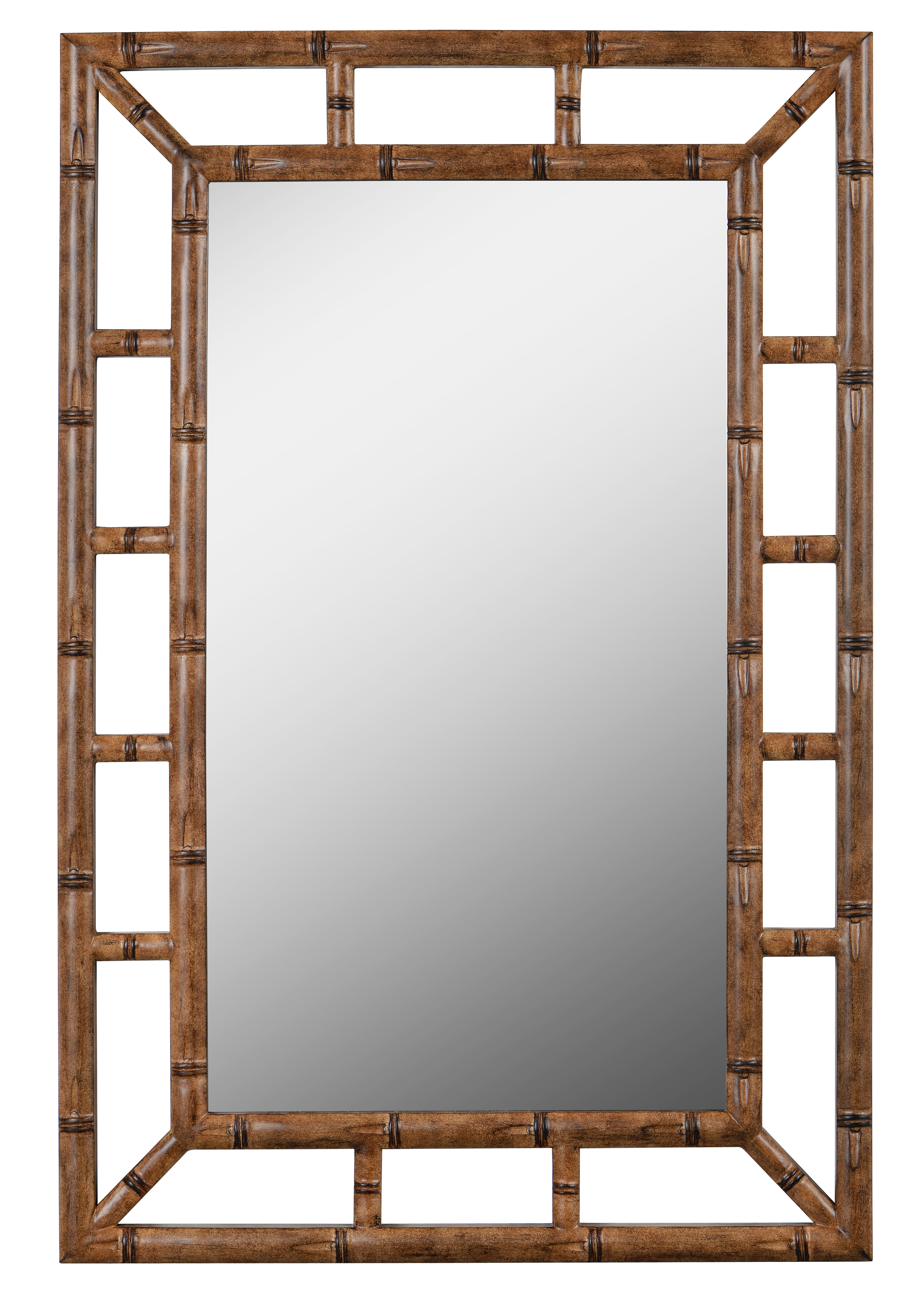 Cleta Bamboo Brown Traditional Beveled Wall Mirror intended for Boyers Wall Mirrors (Image 10 of 30)