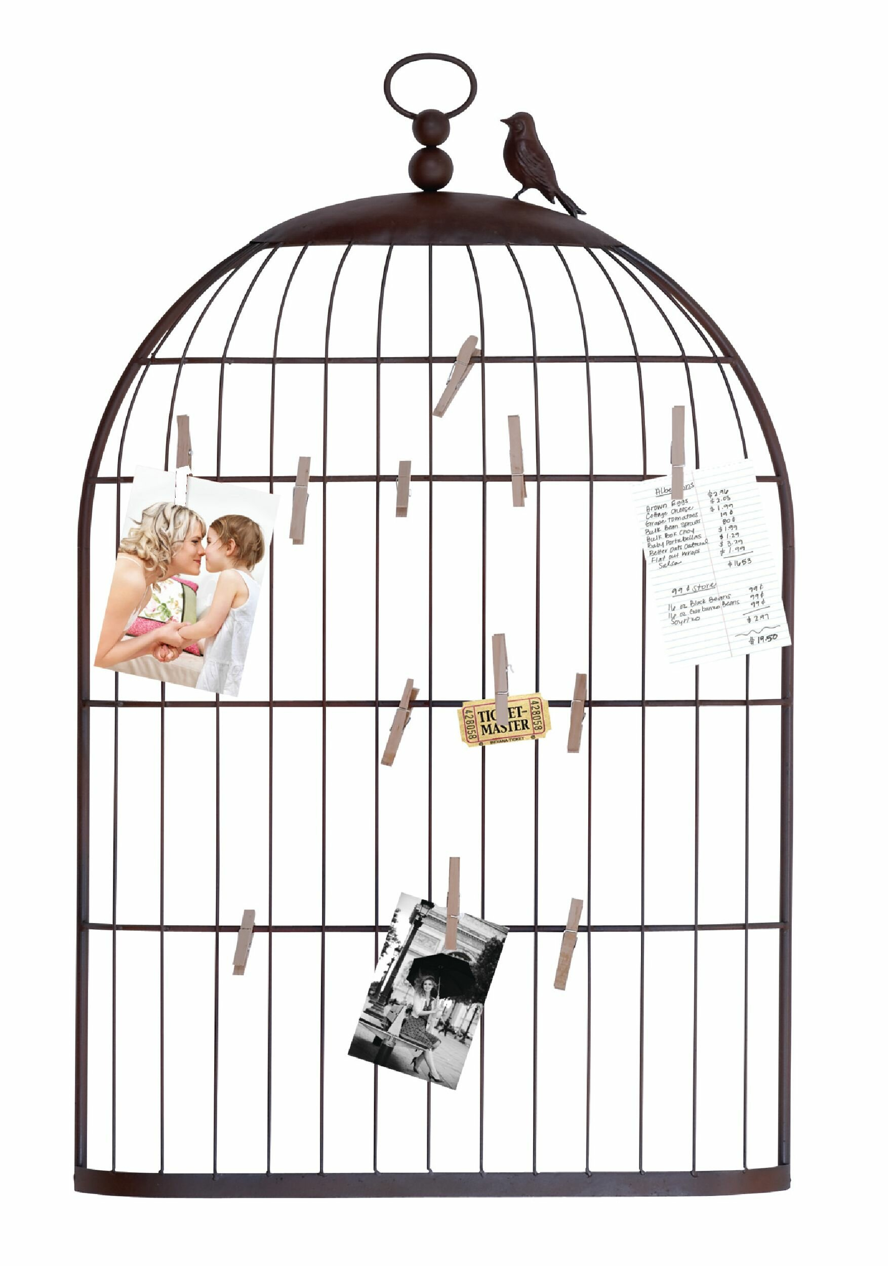 Cloyd Birdcage Photo Holder within Millanocket Metal Wheel Photo Holder Wall Decor (Image 7 of 30)