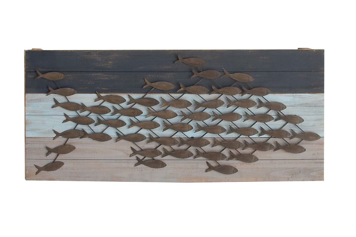 Coastal Living Fish Wall Decor in Brown Wood and Metal Wall Decor (Image 7 of 30)