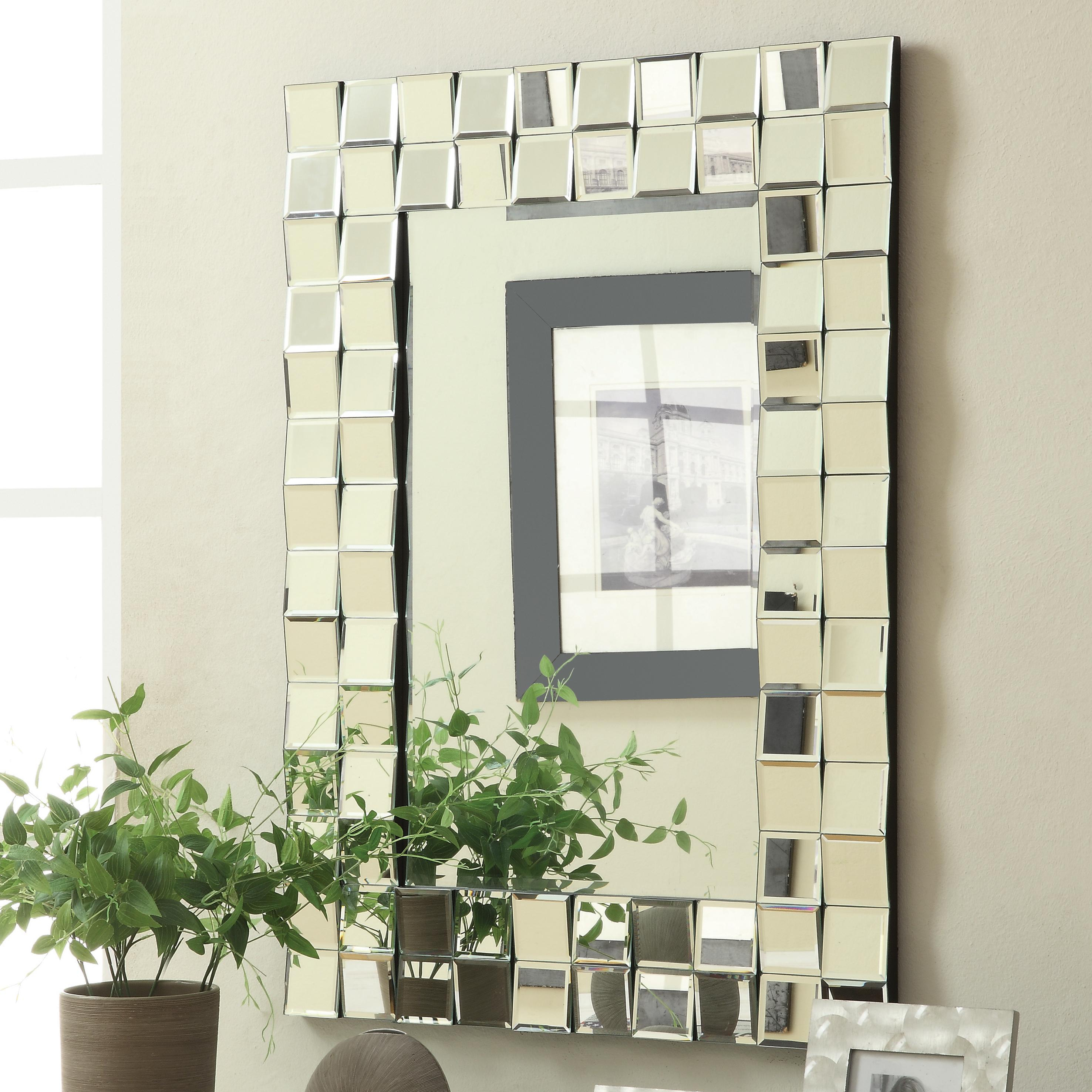 Coaster Accent Mirrors Contemporary Rectangular Wall Mirror Intended For Silver Frame Accent Mirrors (View 12 of 30)