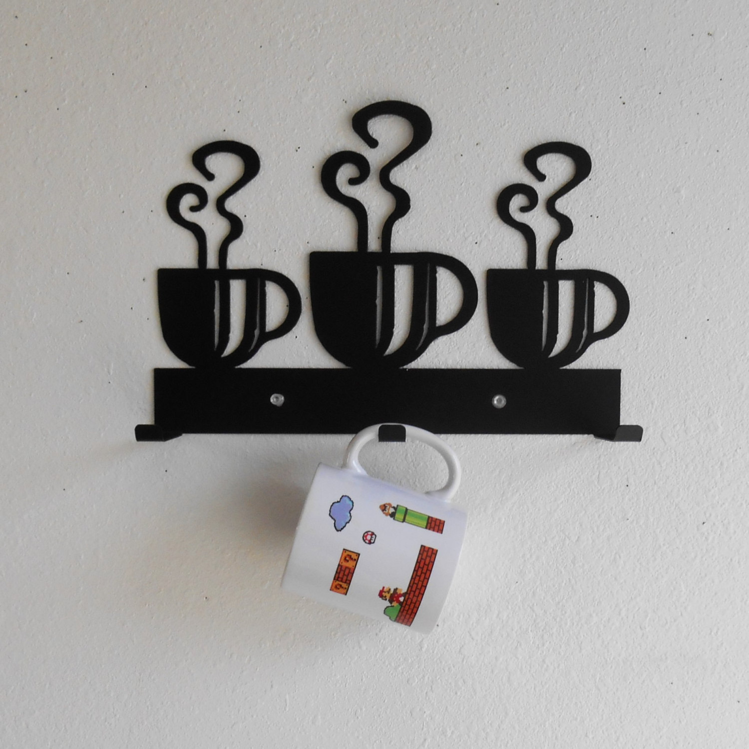 Coffee Cup Rack / Three Cup Holder / Metal Wall Hanging / Kitchen Organizer / Kitchen Decor Regarding Three Glass Holder Wall Decor (View 4 of 30)