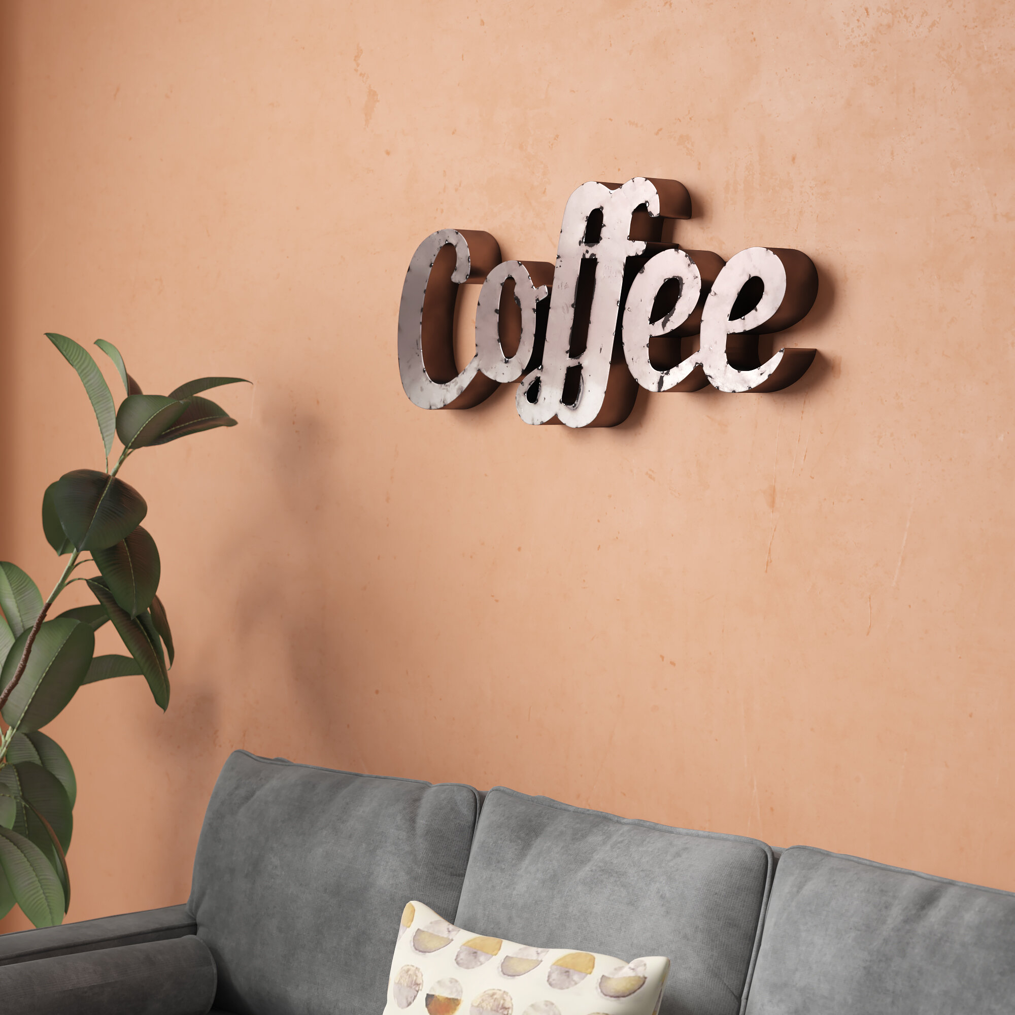 Featured Photo of Coffee Sign With Rebar Wall Decor