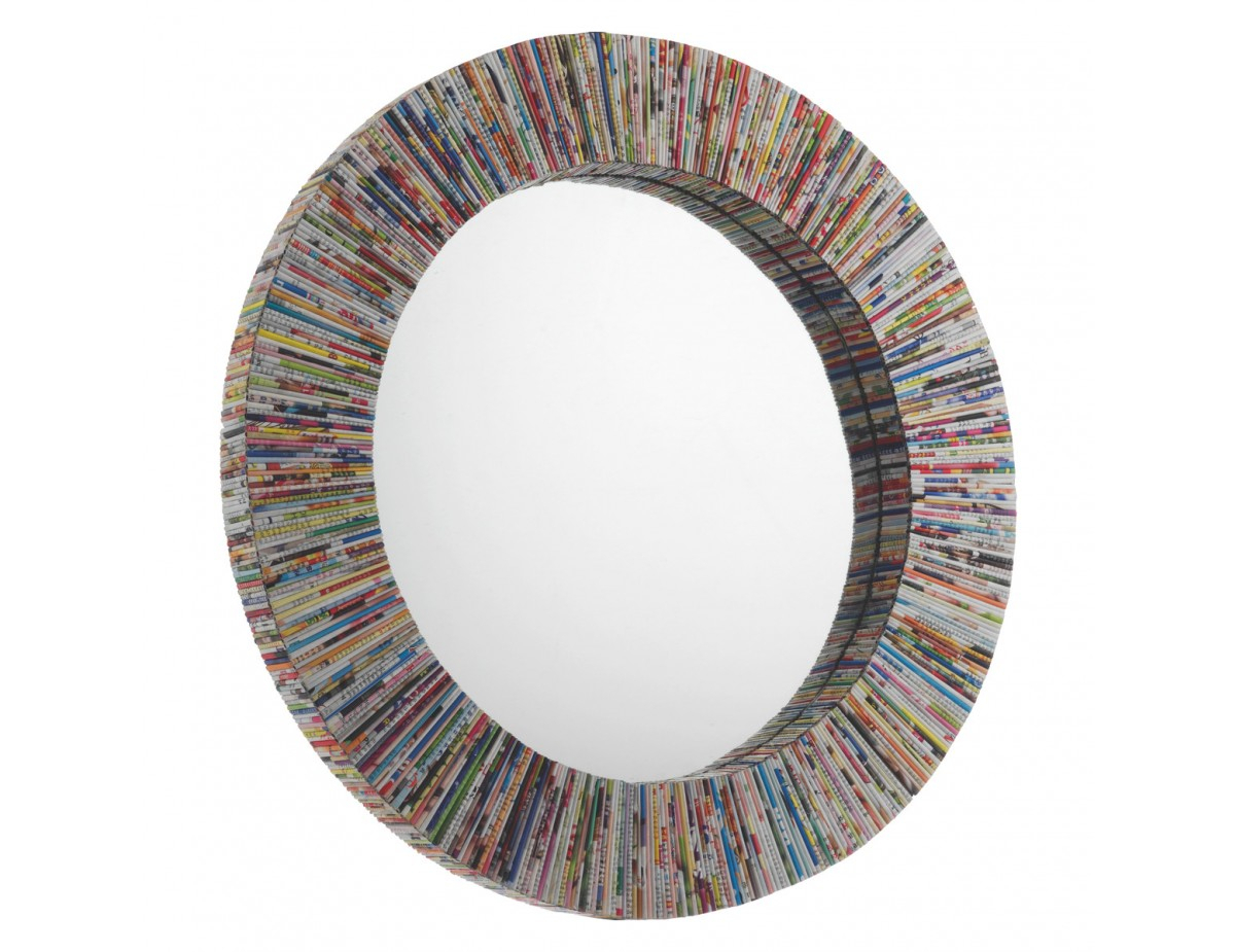 Cohen Multi Coloured Recycled Magazine Round Wall Mirror Inside Round Eclectic Accent Mirrors (View 14 of 30)